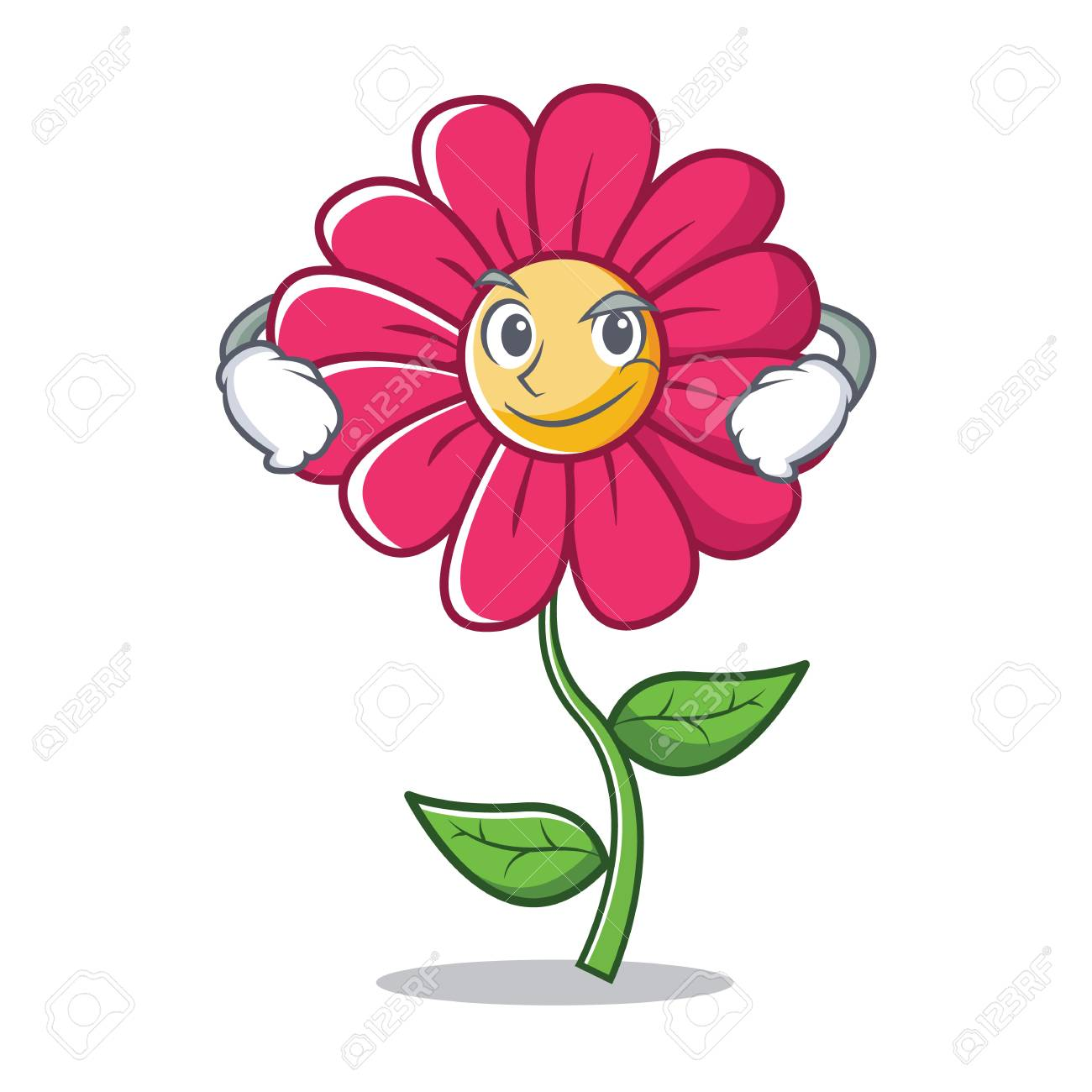 Smirking Pink Flower Character Cartoon Royalty Free Cliparts