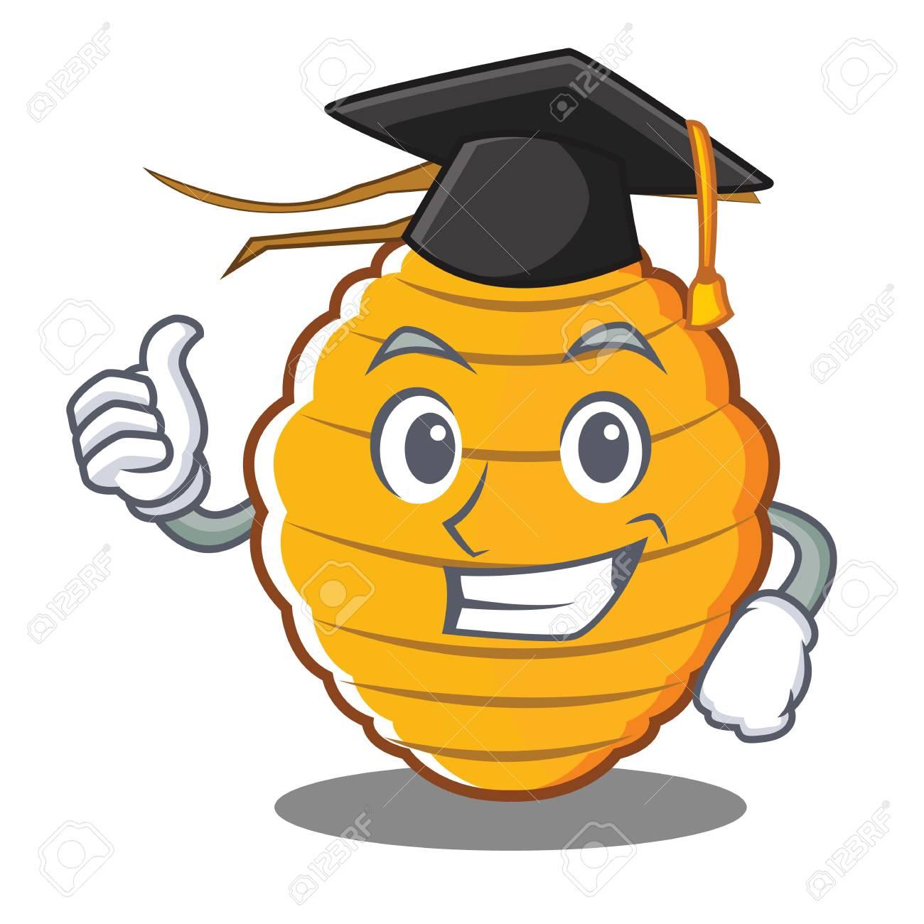 ilustracin de vector de dibujos animados de carcter de colmena de abeja de graduacin foto de