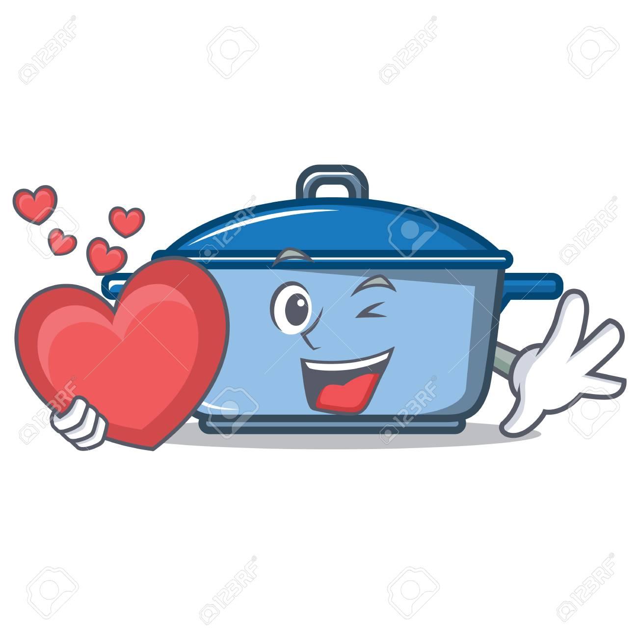 Dessin Casserole Cuisine avec le style de dessin animé de caractère casserole coeur de