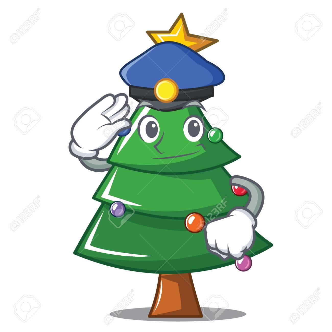 Christmas Images Free Cartoon.Police Christmas Tree Character Cartoon Vector Illustration