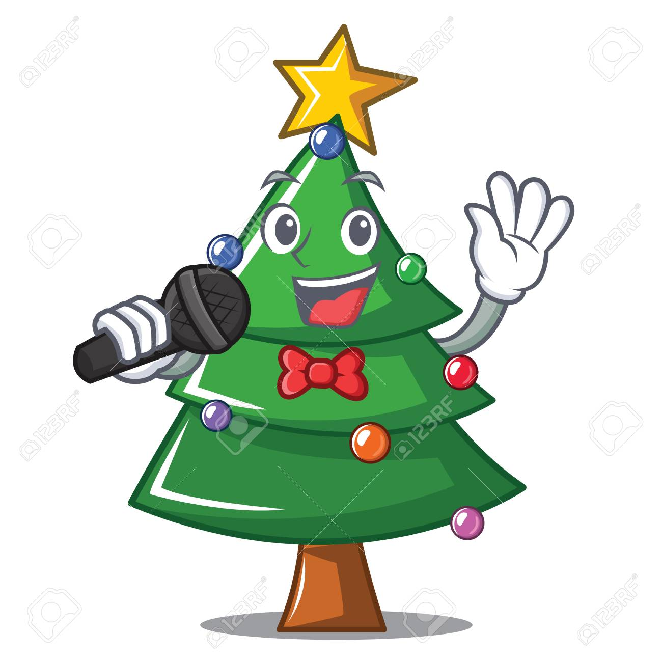 Singing Christmas Tree.Singing Christmas Tree Character Cartoon Vector Illustration
