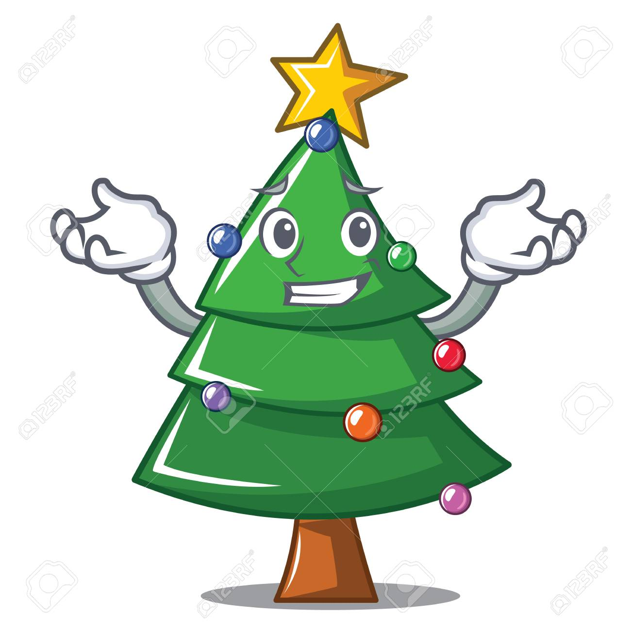 Grinning Christmas Tree Character Cartoon Royalty Free Cliparts