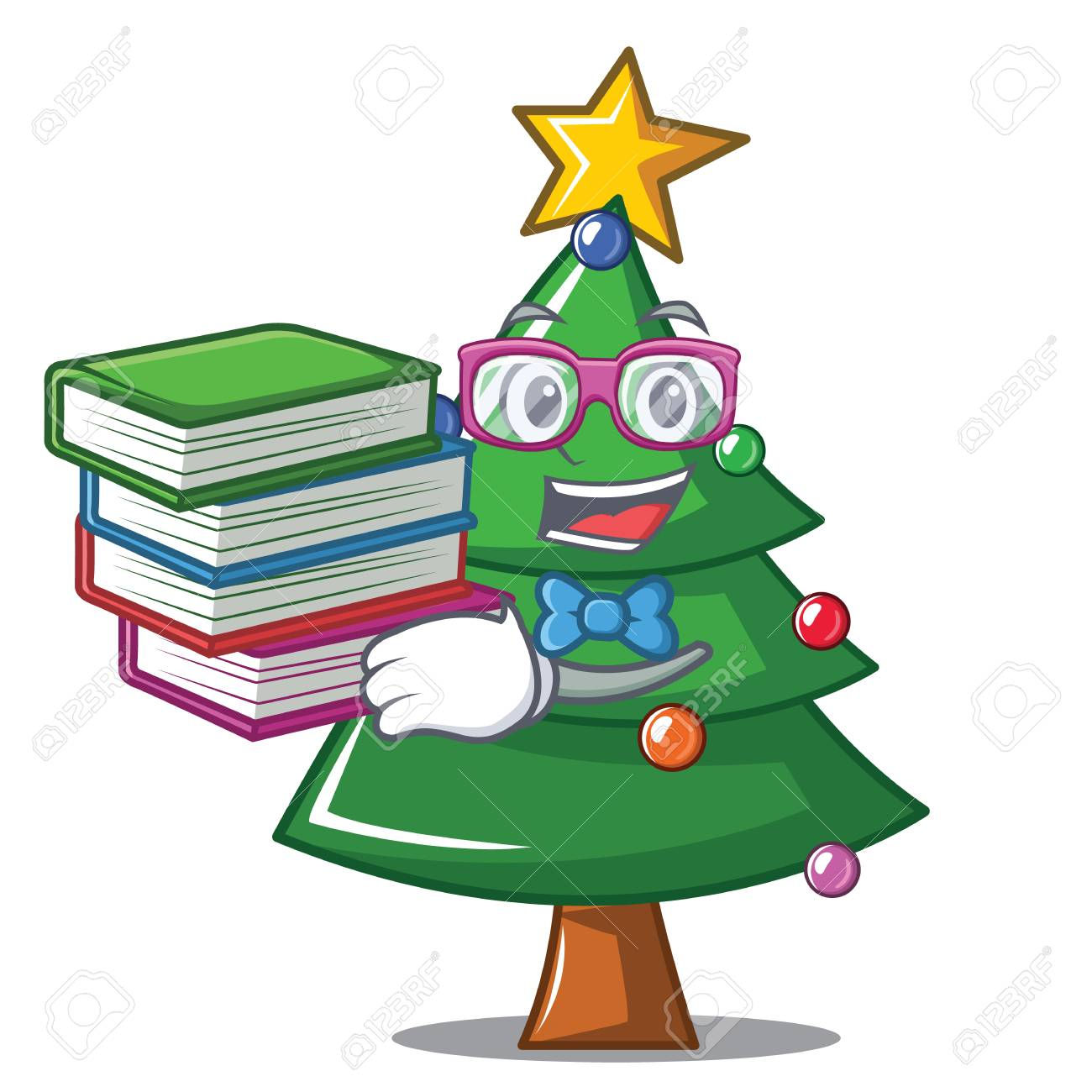 Student With Book Christmas Tree Character Cartoon Royalty Free