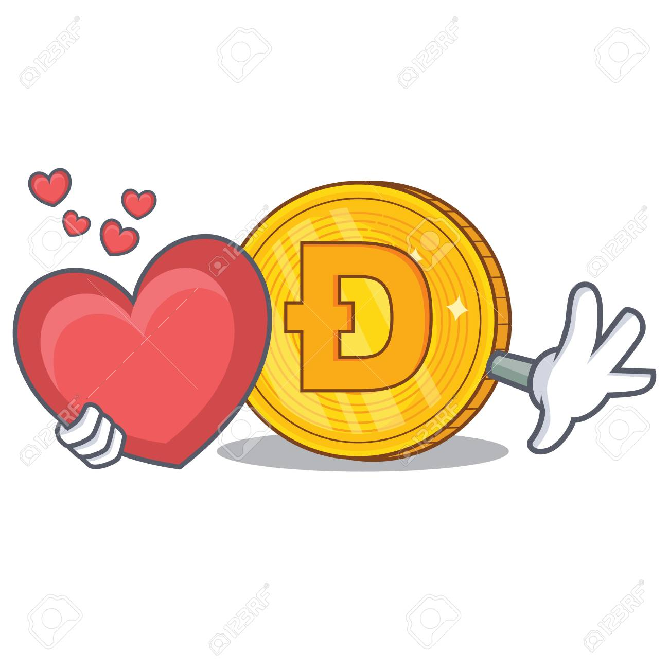 With Heart Dodgecoin Character Cartoon Style Royalty Free Cliparts