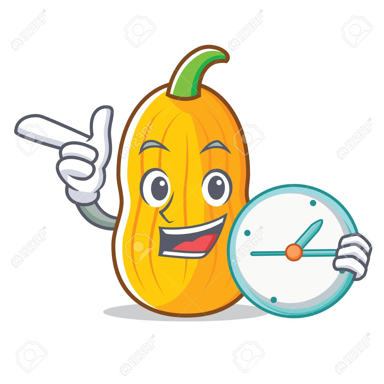 With clock butternut squash character cartoon vector illustration - 94892411