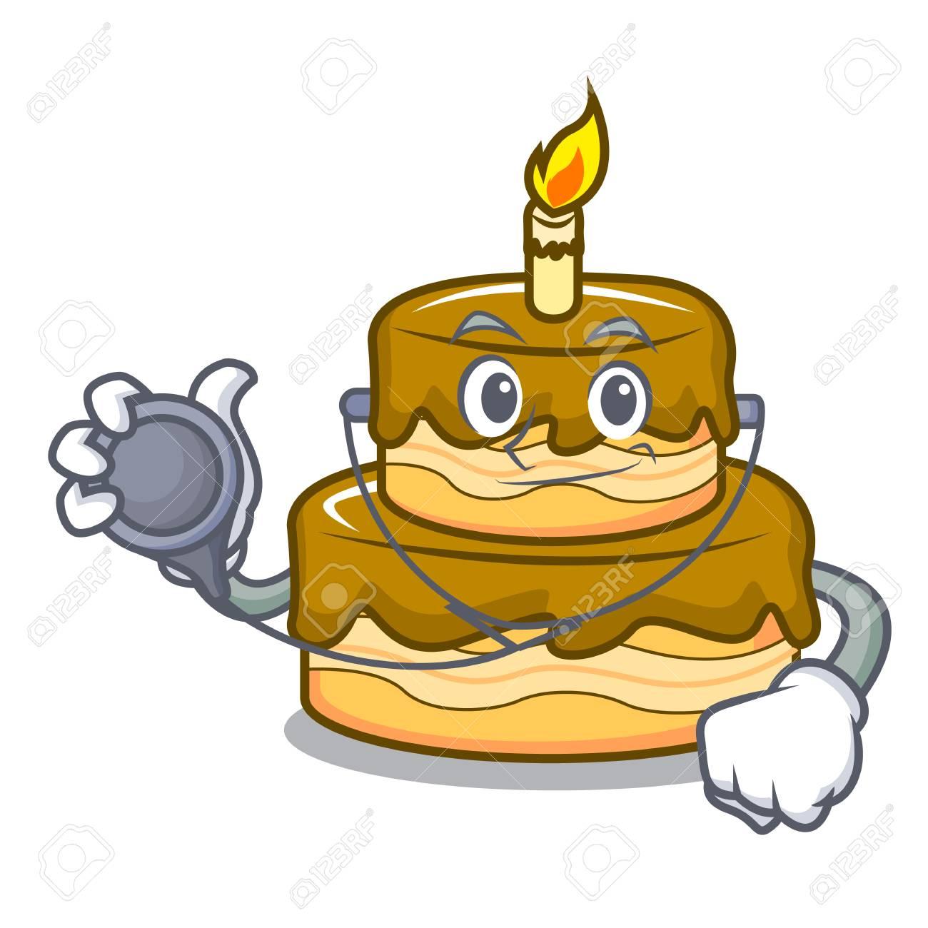 Doctor Birthday Cake Character Cartoon Vector Illustration Stock