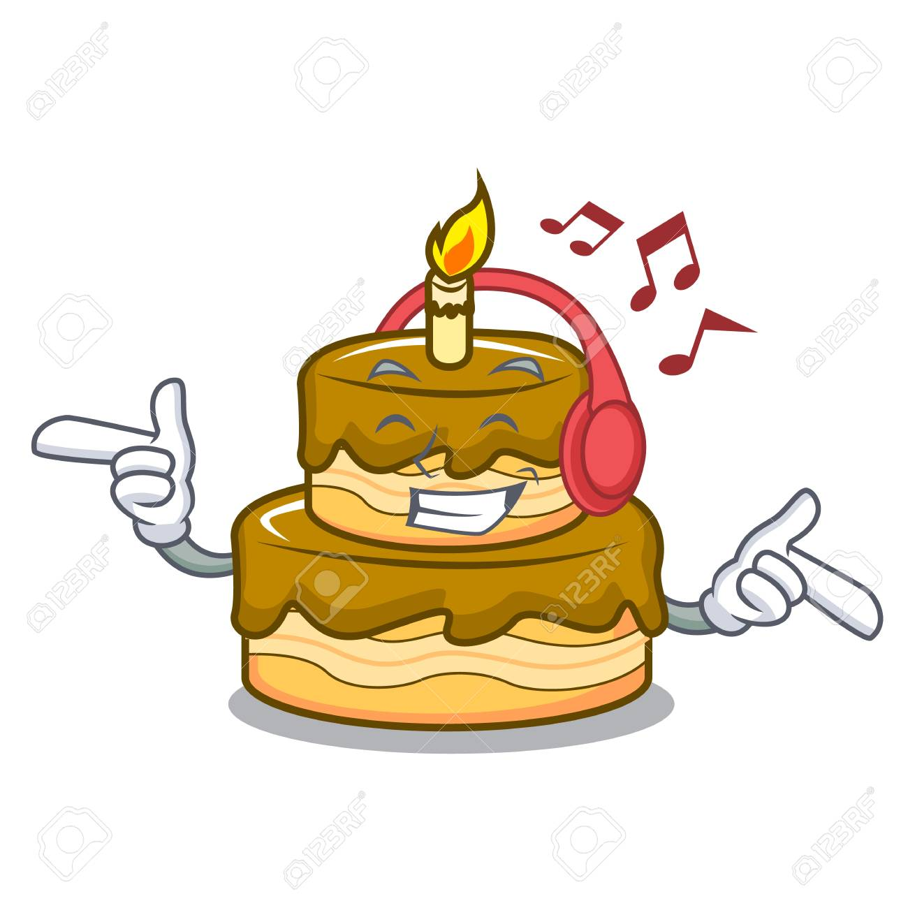 Phenomenal Listening Music Birthday Cake Mascot Cartoon Vector Illustration Funny Birthday Cards Online Inifofree Goldxyz