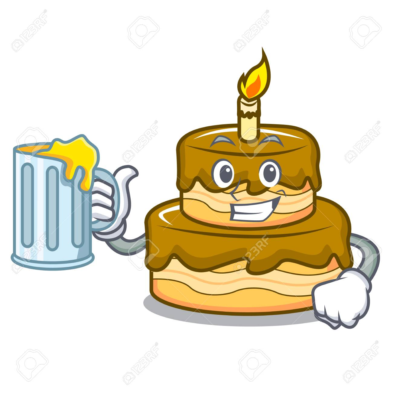With Beer Birthday Cake Mascot Cartoon Vector Illustration Royalty