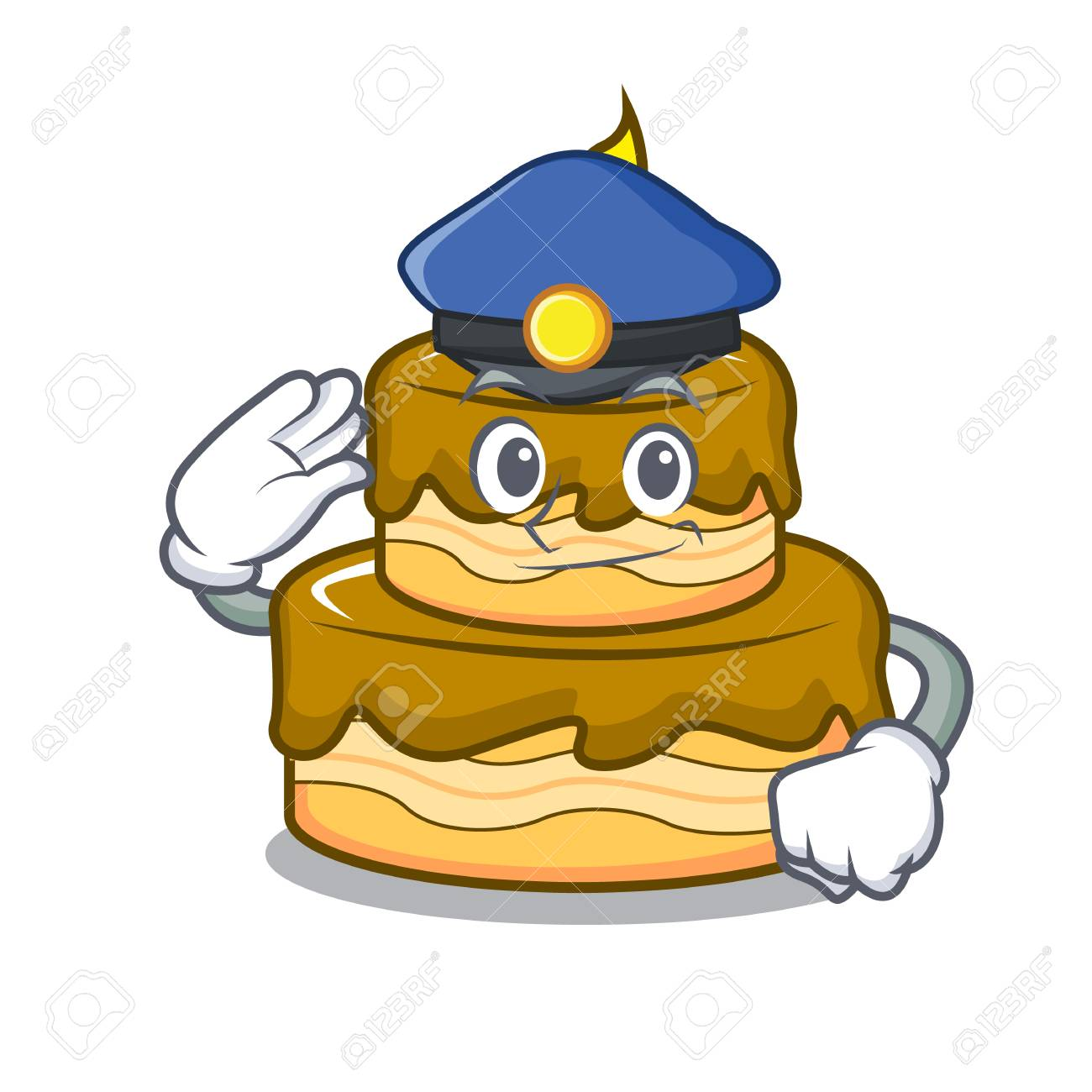 Awesome Police Birthday Cake Character Cartoon Vector Illustration Royalty Funny Birthday Cards Online Alyptdamsfinfo