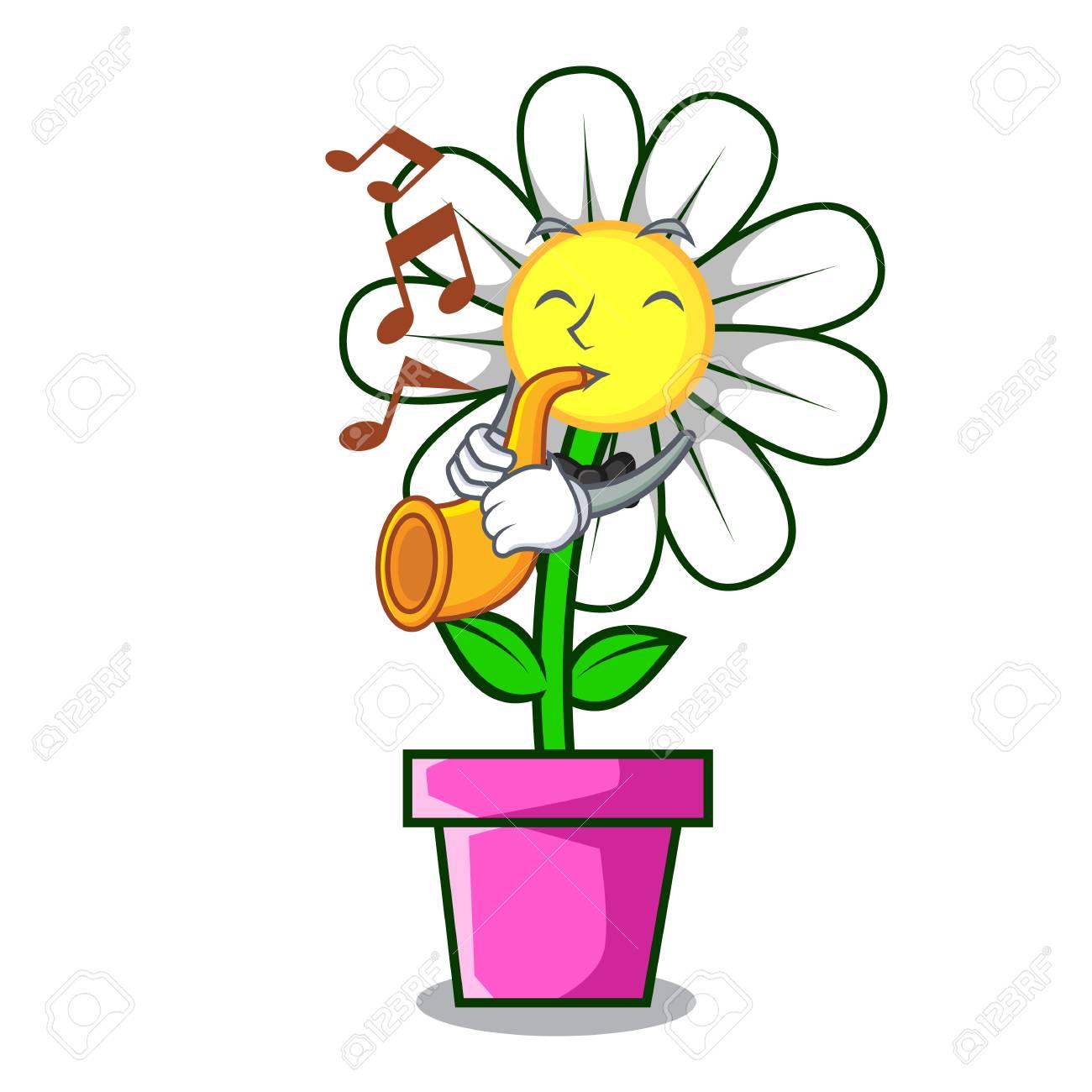 With trumpet daisy flower mascot cartoon royalty free cliparts vector with trumpet daisy flower mascot cartoon izmirmasajfo