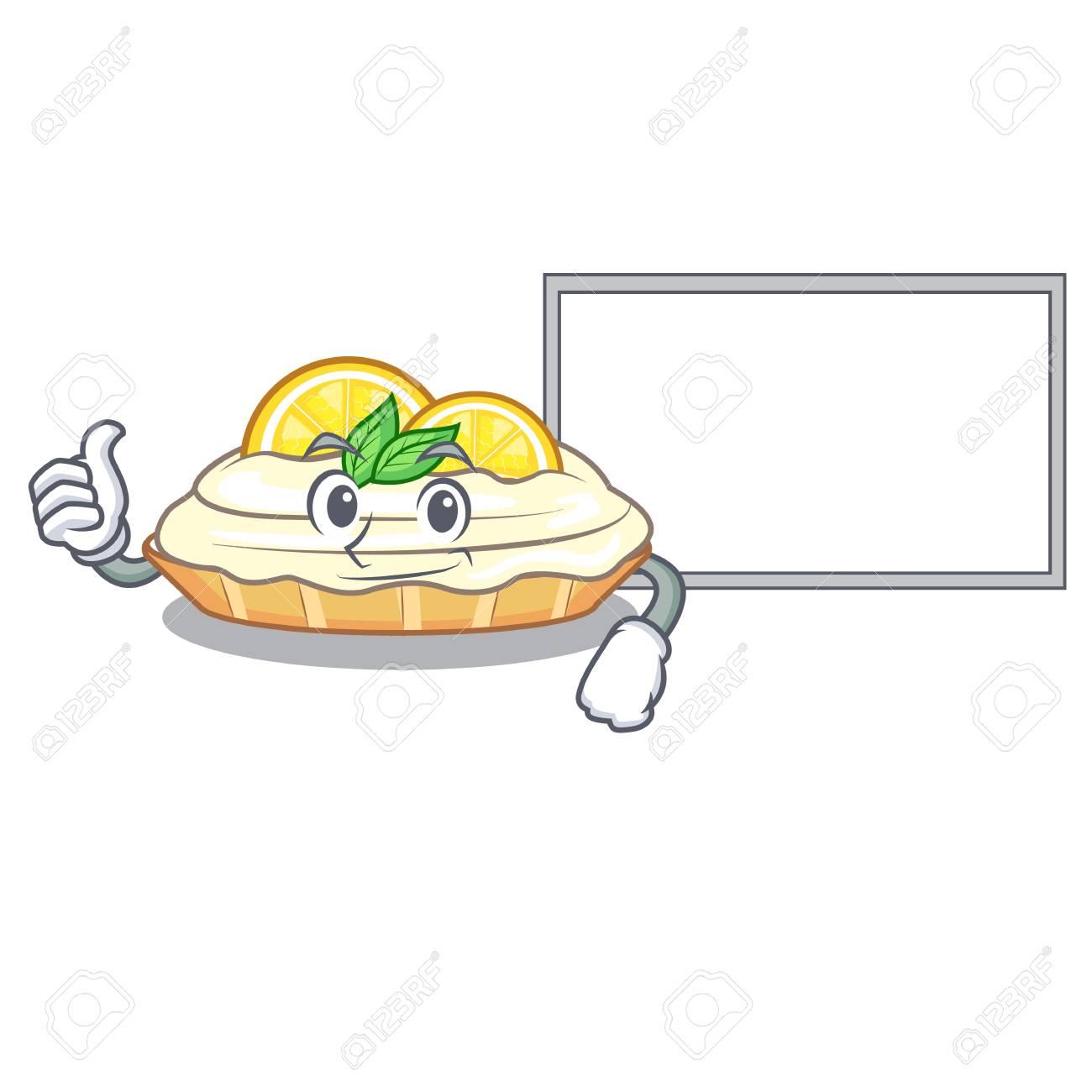 Thumbs Up With Board Cartoon Lemon Cake With Sugar Powder Vector