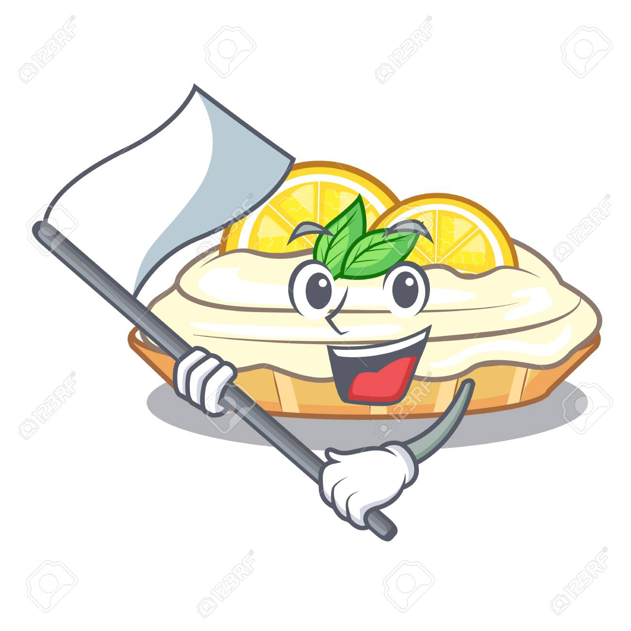 With Flag Mascot Delicious Homemade Lemon Cake With Sugar Vector