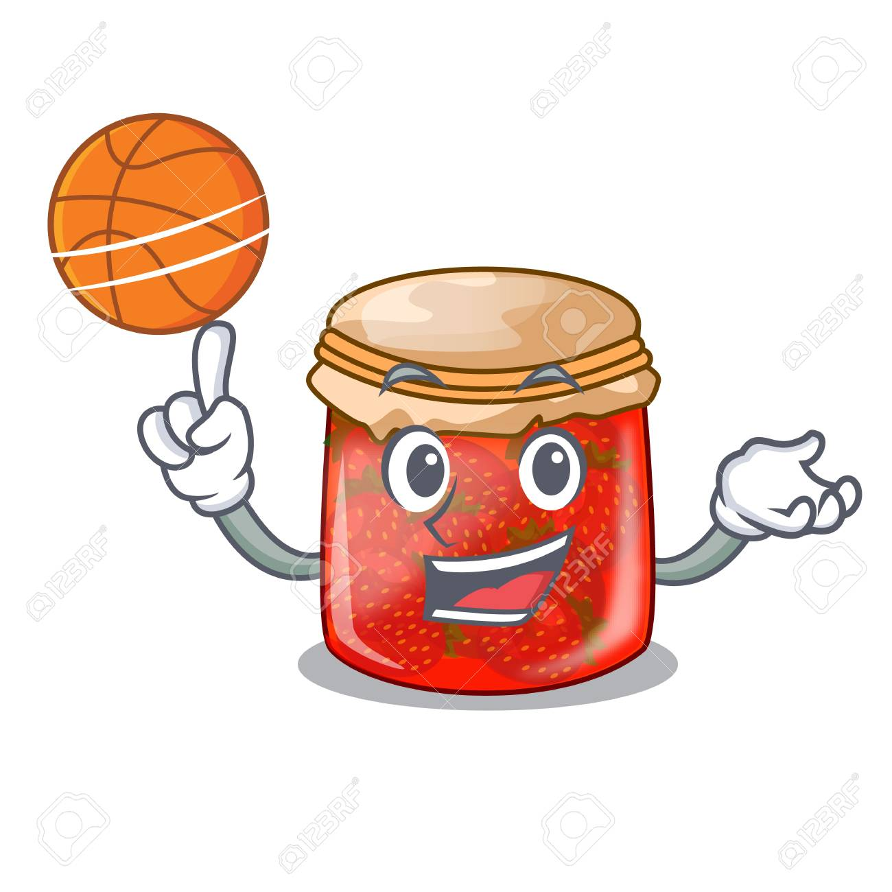 With basketball character homemade strawberry marmalade in the