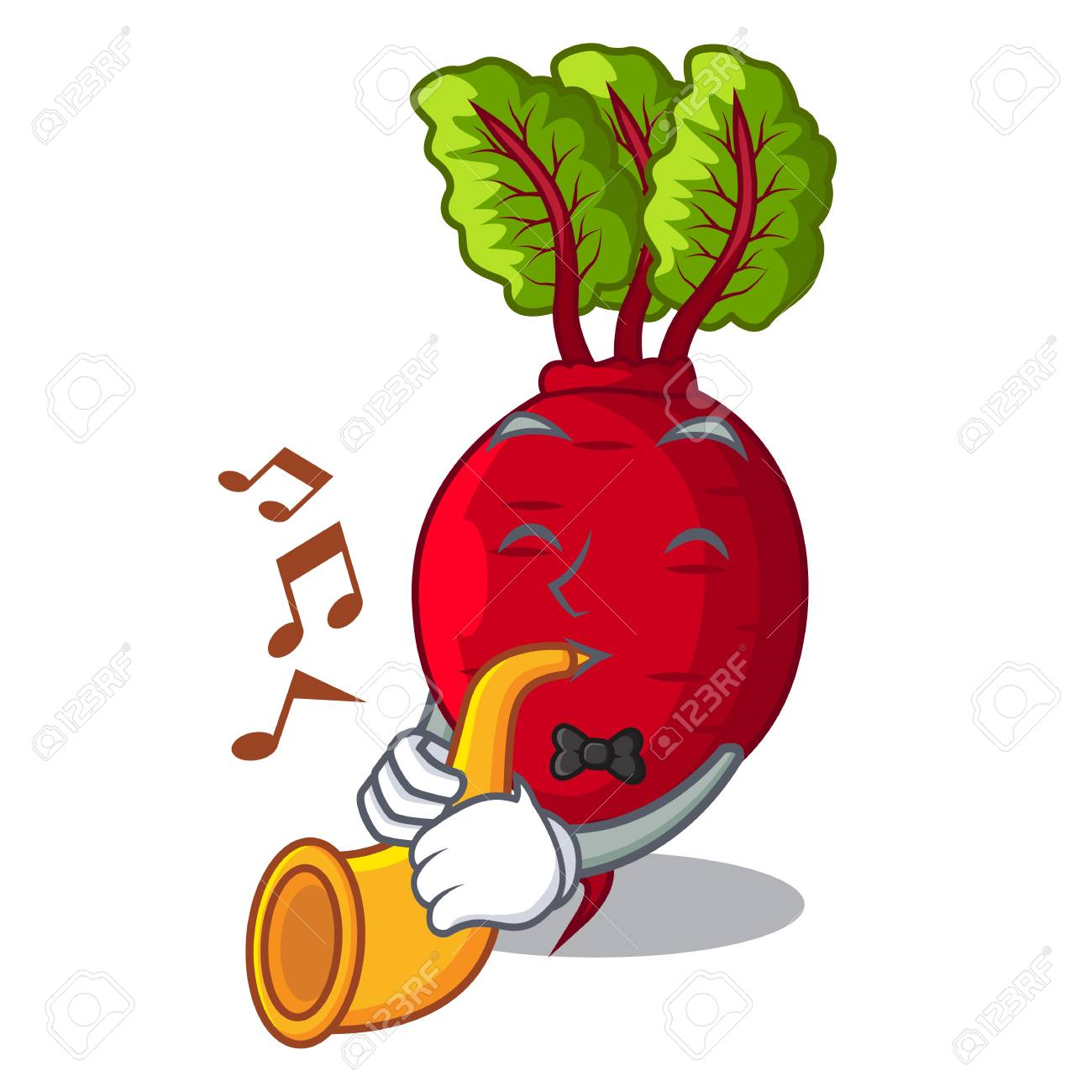 With trumpet beetroot with leaves isolated on mascot vector illustration - 109756600