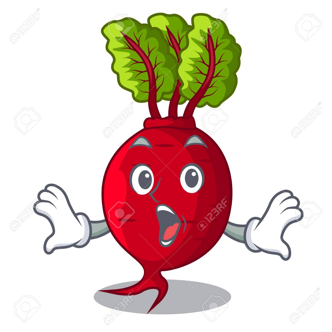 Surprised beetroot with leaves isolated on mascot vector illustration - 109756601