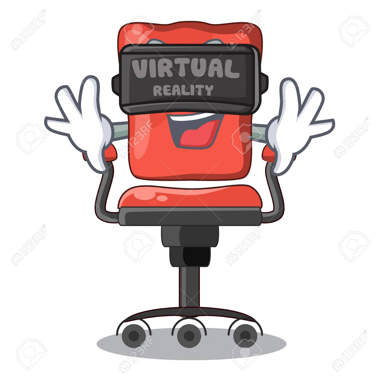 Virtual reality cartoon desk chair in modern living room vector