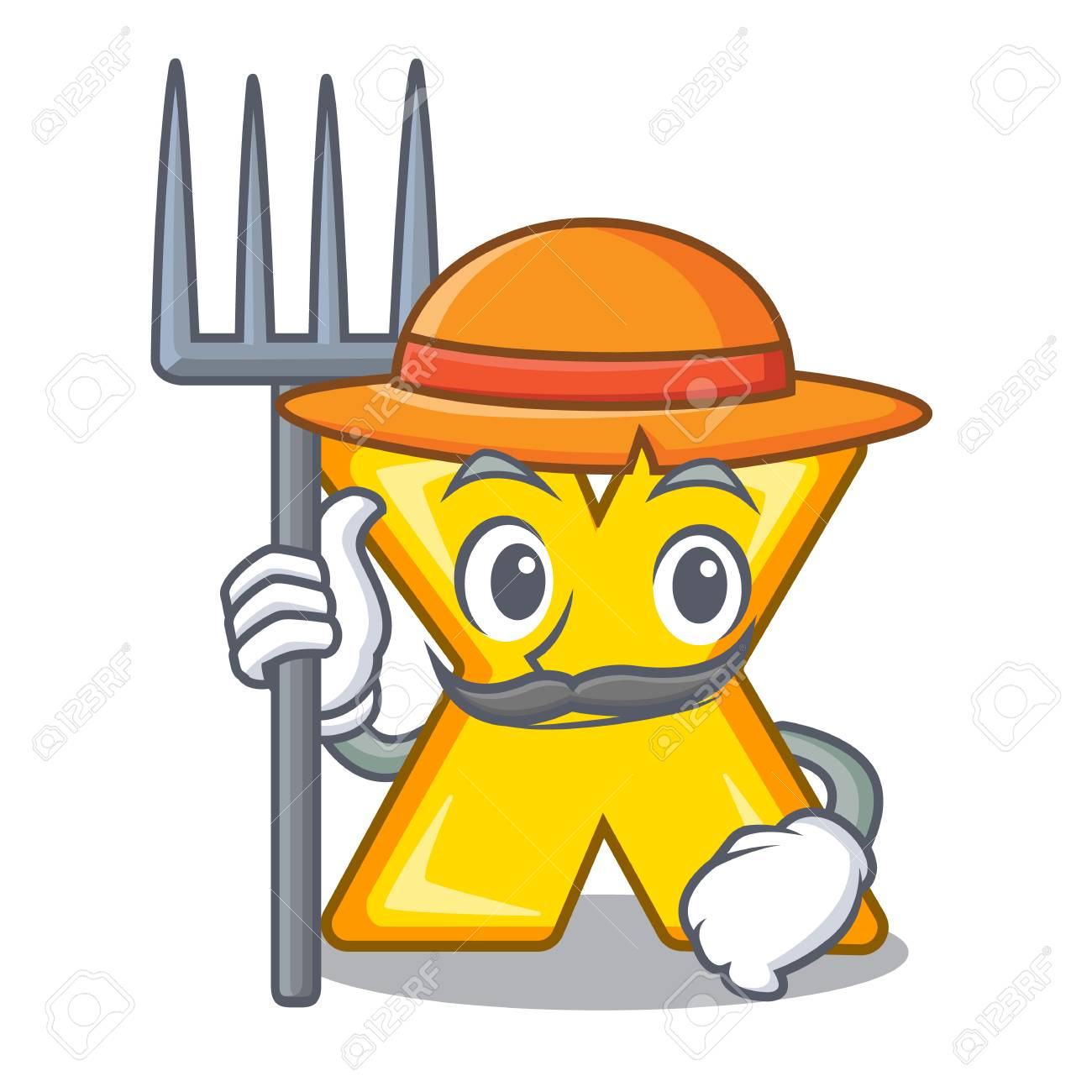 Farmer character cartoon multiply sign - 110456996