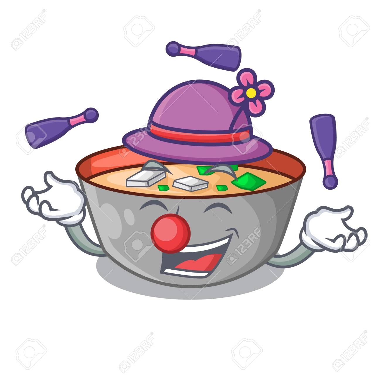 Juggling Delicious Meal Of Miso Soup Cartoon Vector Illustration