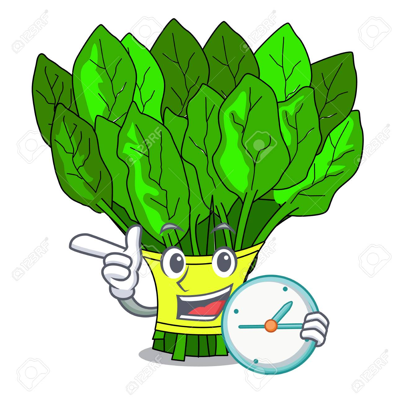 With clock vegetable spinach on a cartoon plate vector illustration - 126448023
