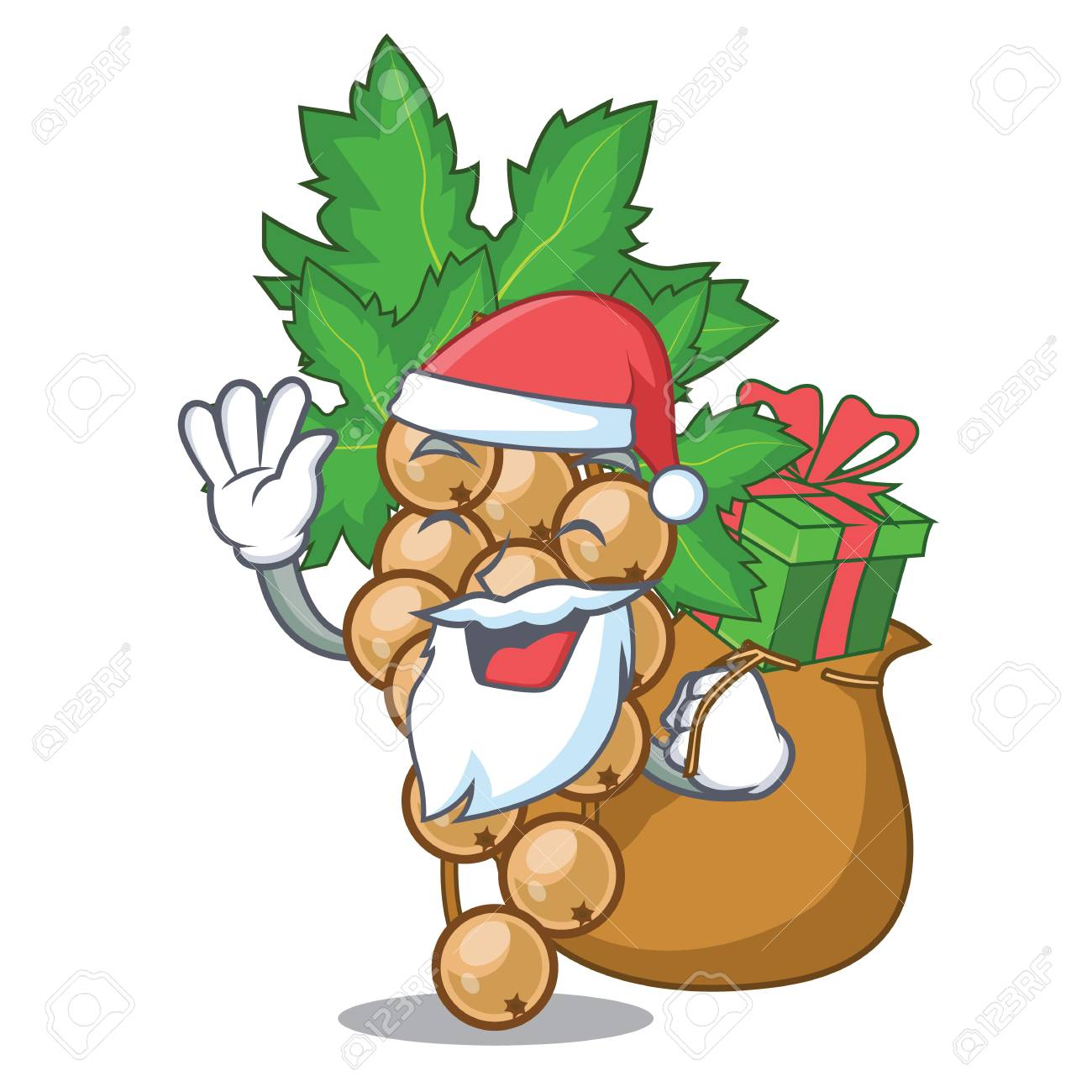 Santa with gift carrunt white above the mascot bowl vector illustration - 125478135