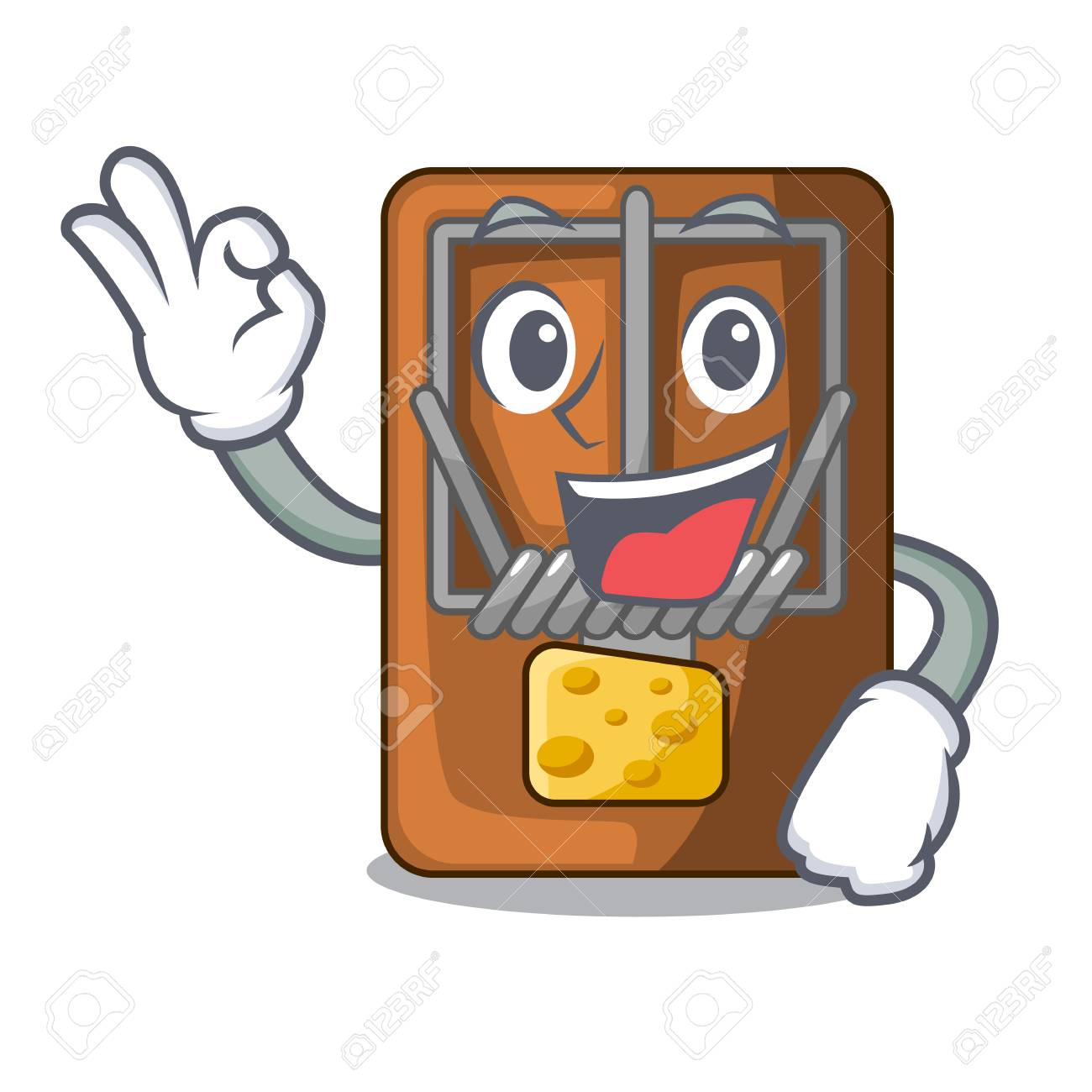 Okay mousetrap in the shape mascot wood vector illustration - 124651565