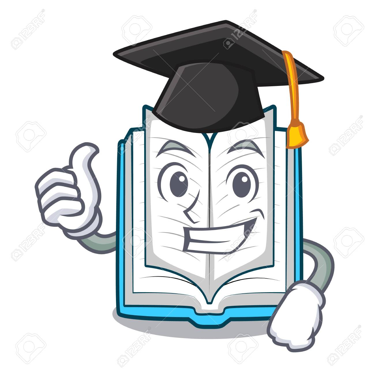 Graduation opened book isolated in the character vector illustration - 124483793
