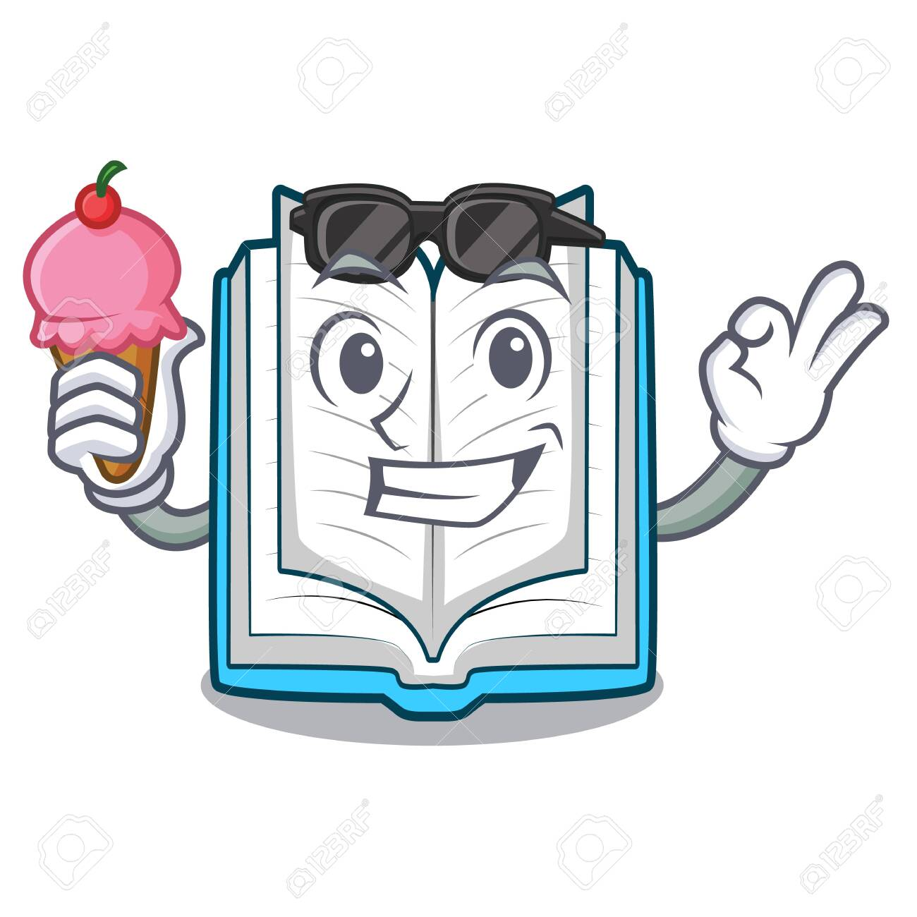 With ice cream opened book isolated in the character vector illustration - 124483828