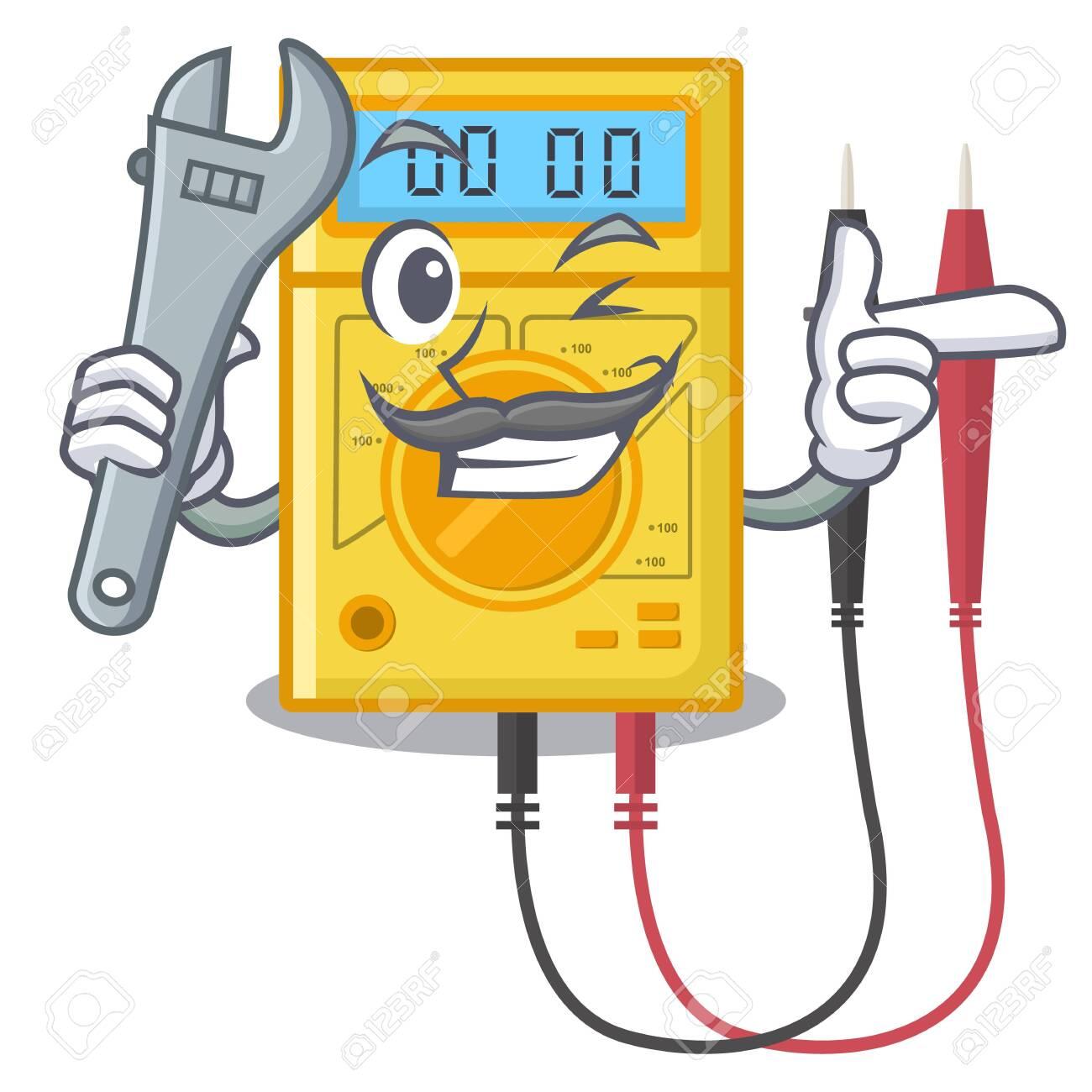 Mechanic digital multimeter sticks to the cartoon wall - 124502418