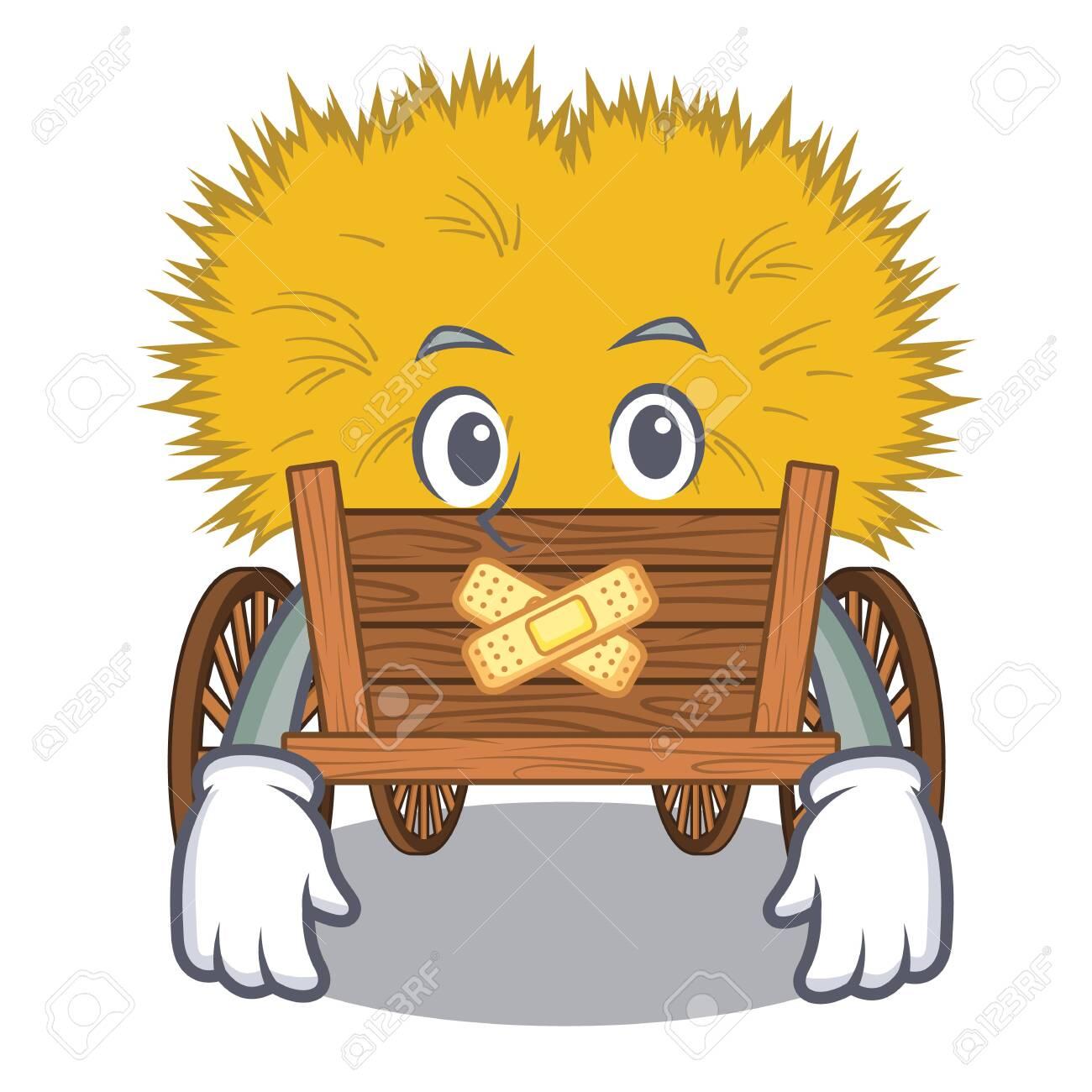 Silent miniature hayride above cartoon wood table - 126429204