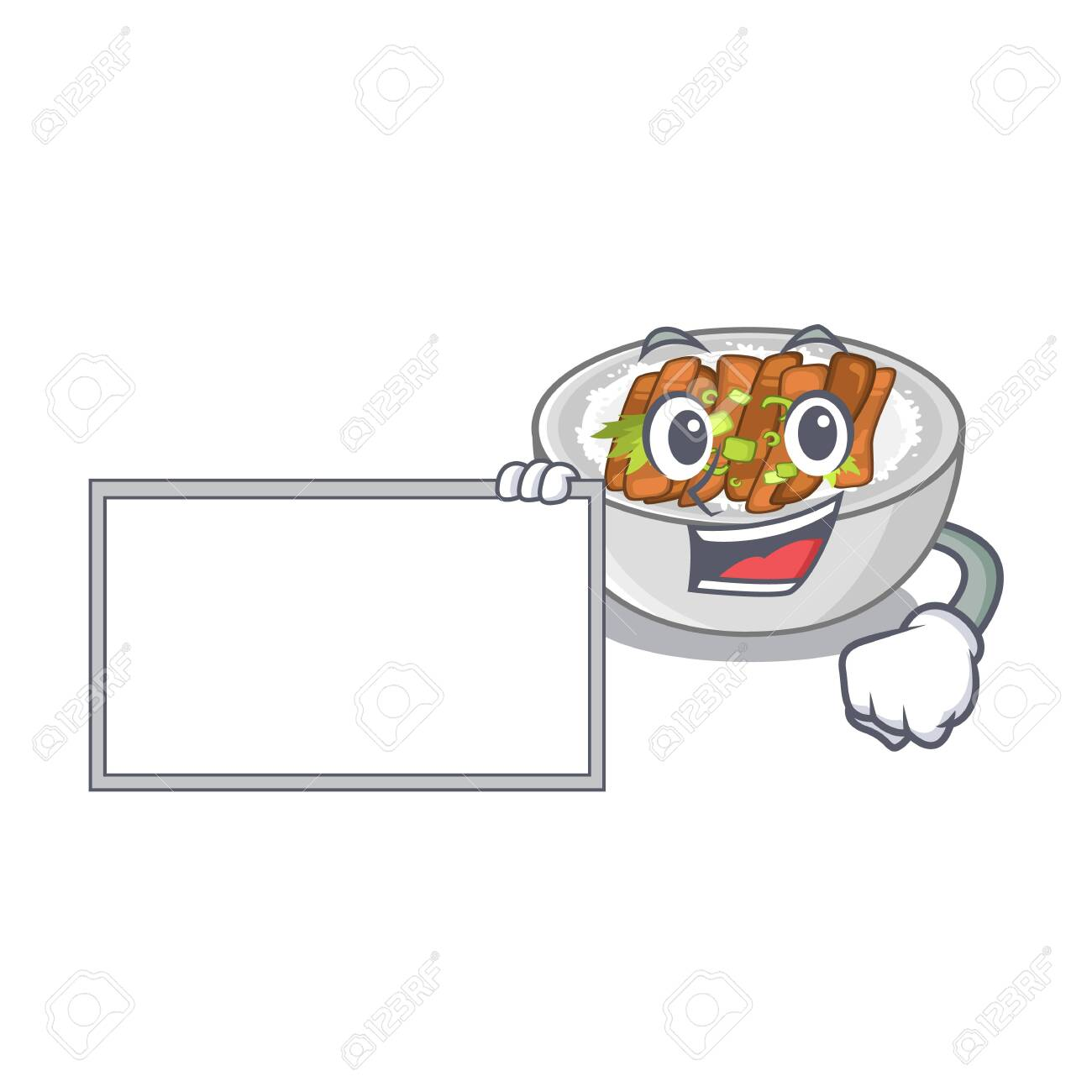 With board donburi isolated with in the mascot vector illustration - 128368329