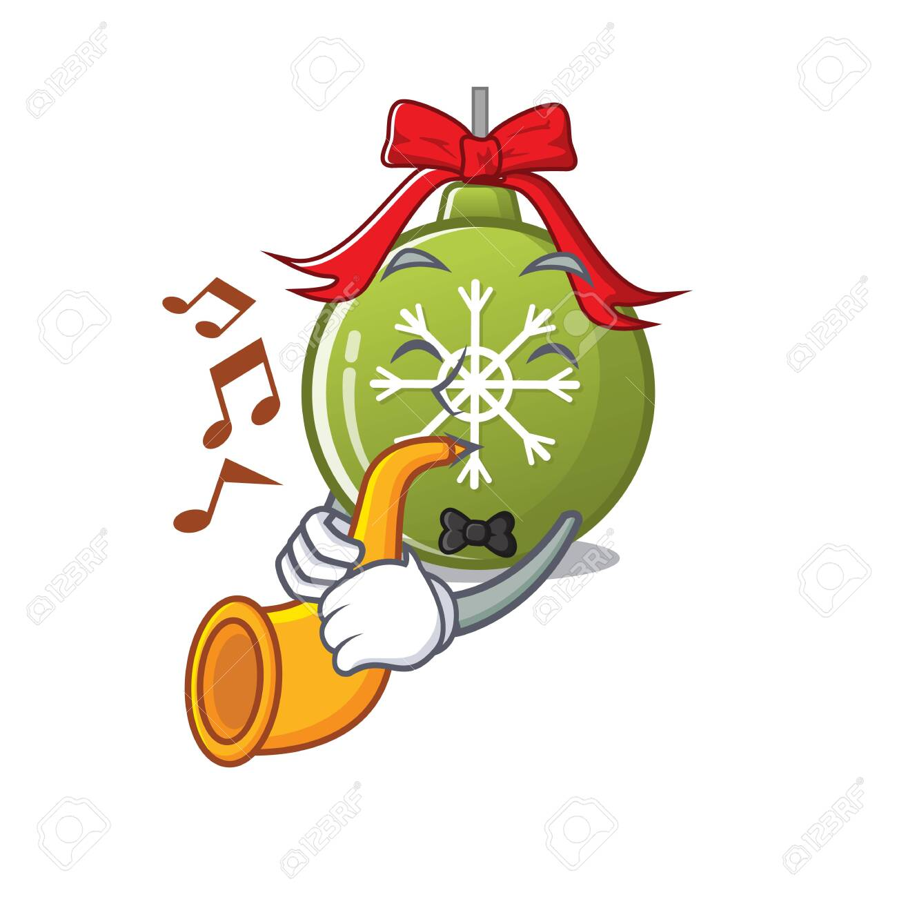 Christmas Trumpet Images.With Trumpet Christmas Ball Green With Mascot Shape Vector Illustration