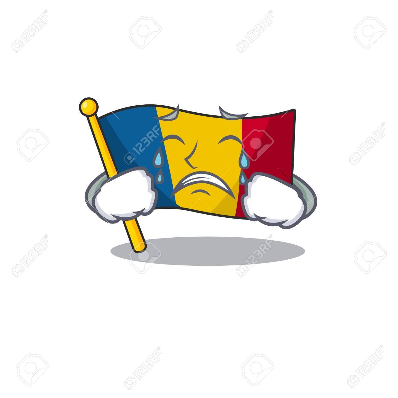Sad Crying flag chad Scroll cartoon character design. Vector illustration - 135772510