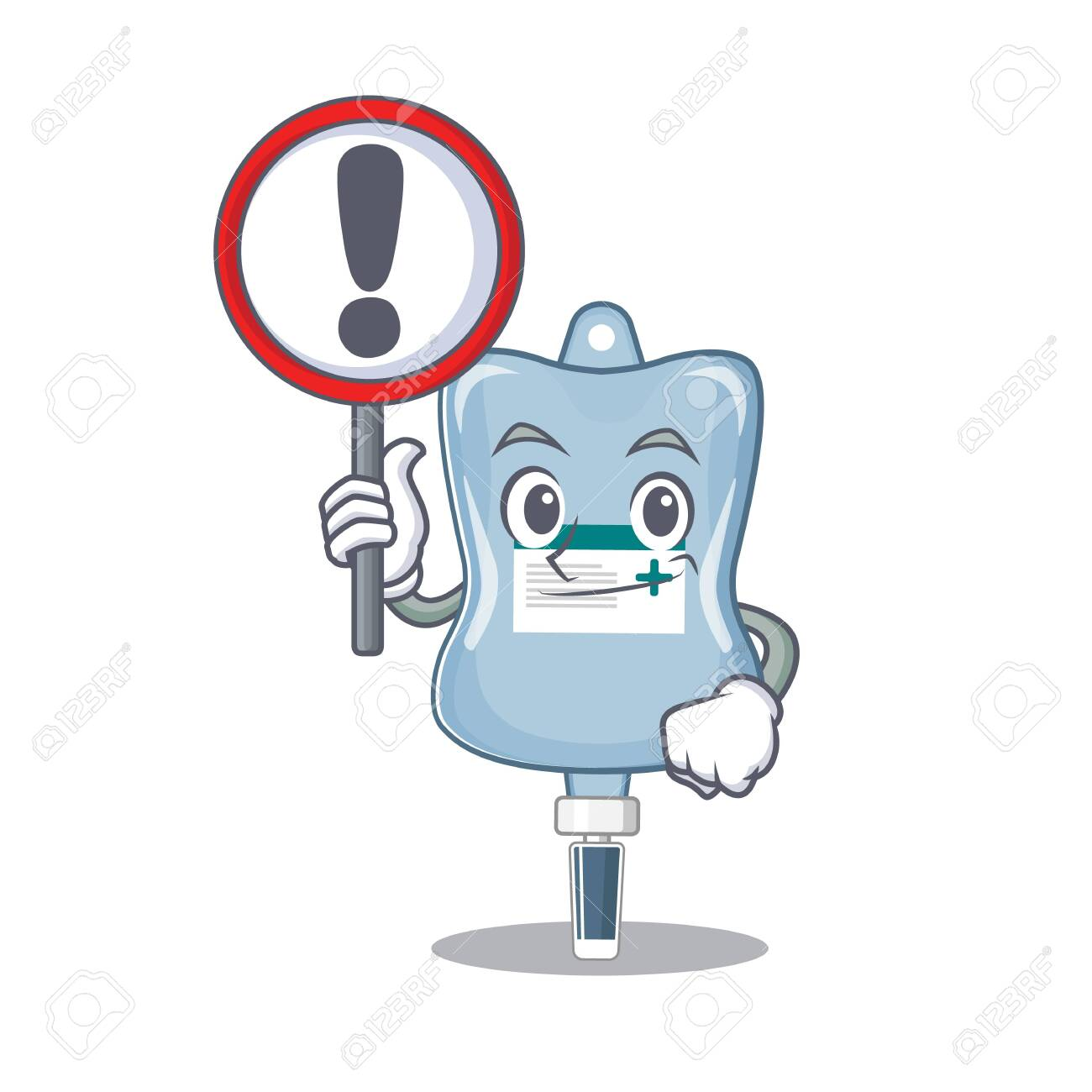 cool and funny saline bag raised up a Sign. Vector illustration - 139093420