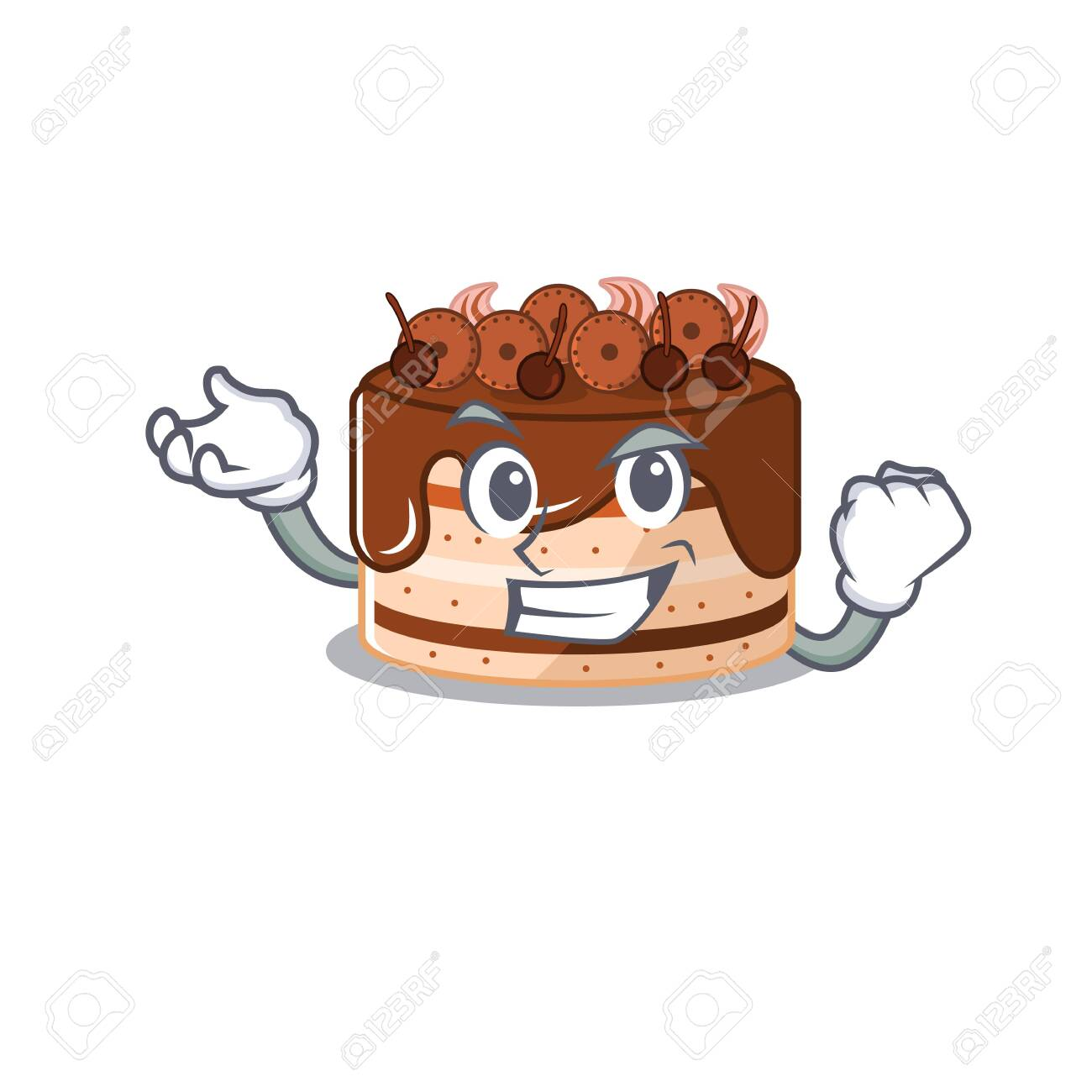 cool confident Successful chocolate cake cartoon character style - 140113310