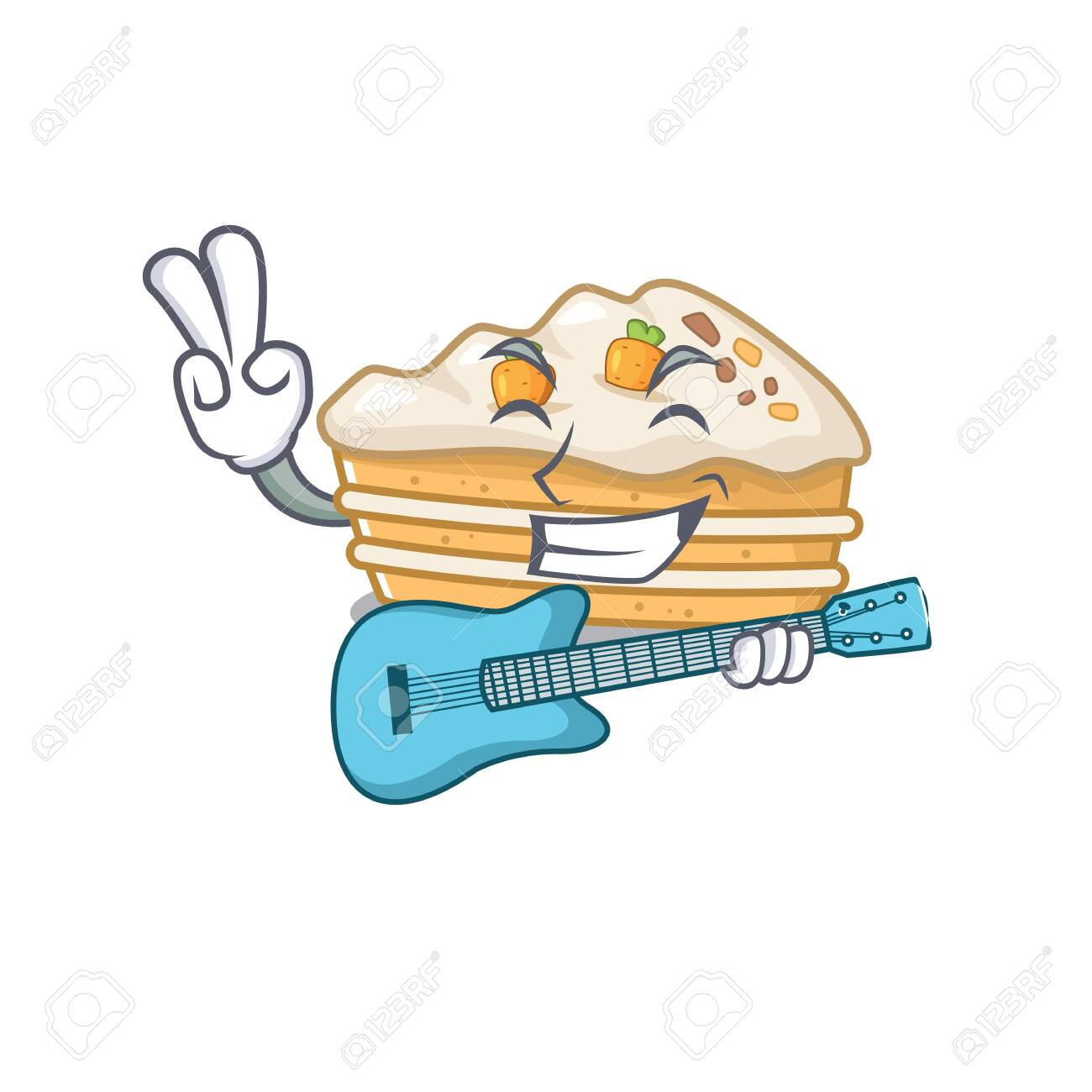 A picture of carrot cake playing a guitar - 140171750