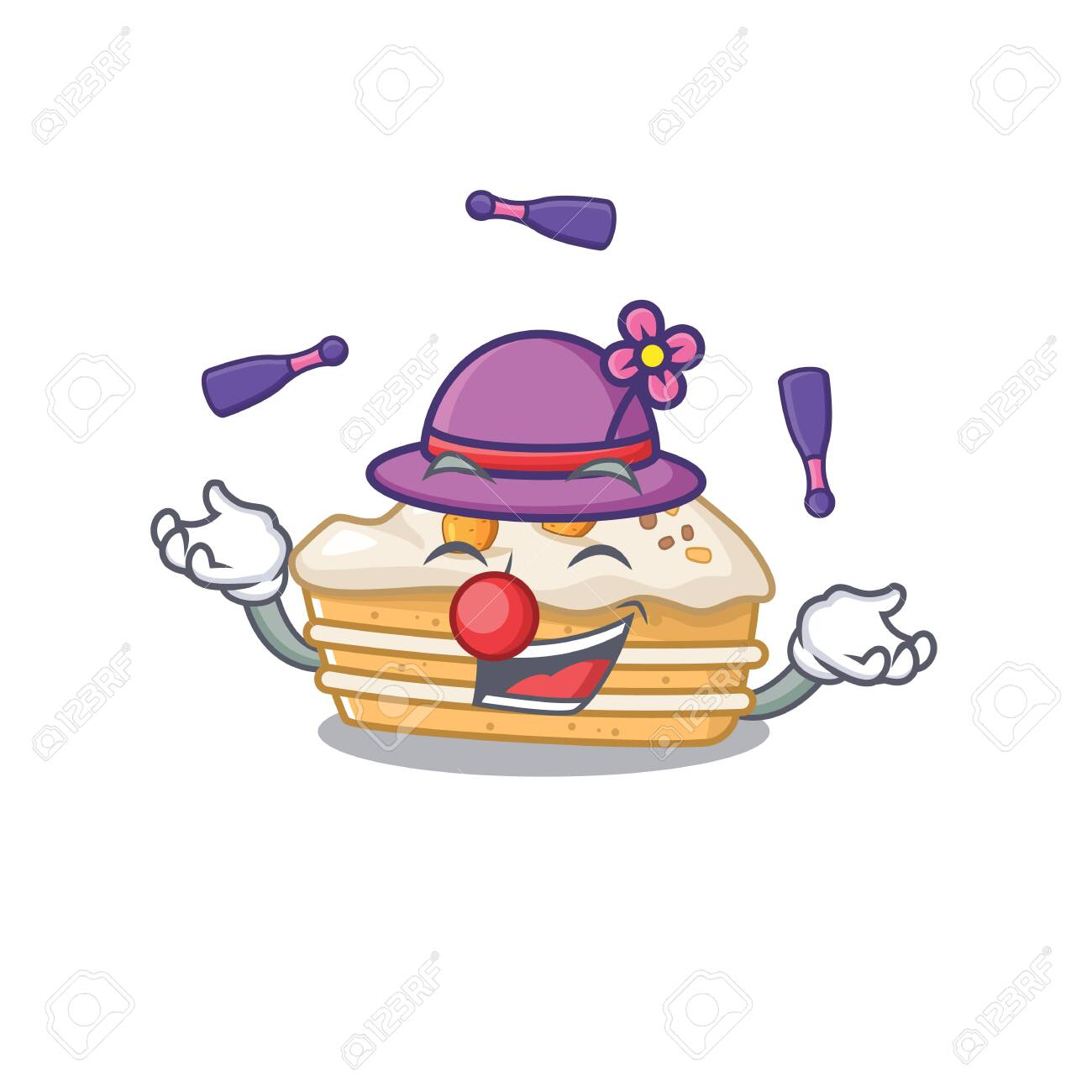 a lively carrot cake cartoon character design playing Juggling - 140171737