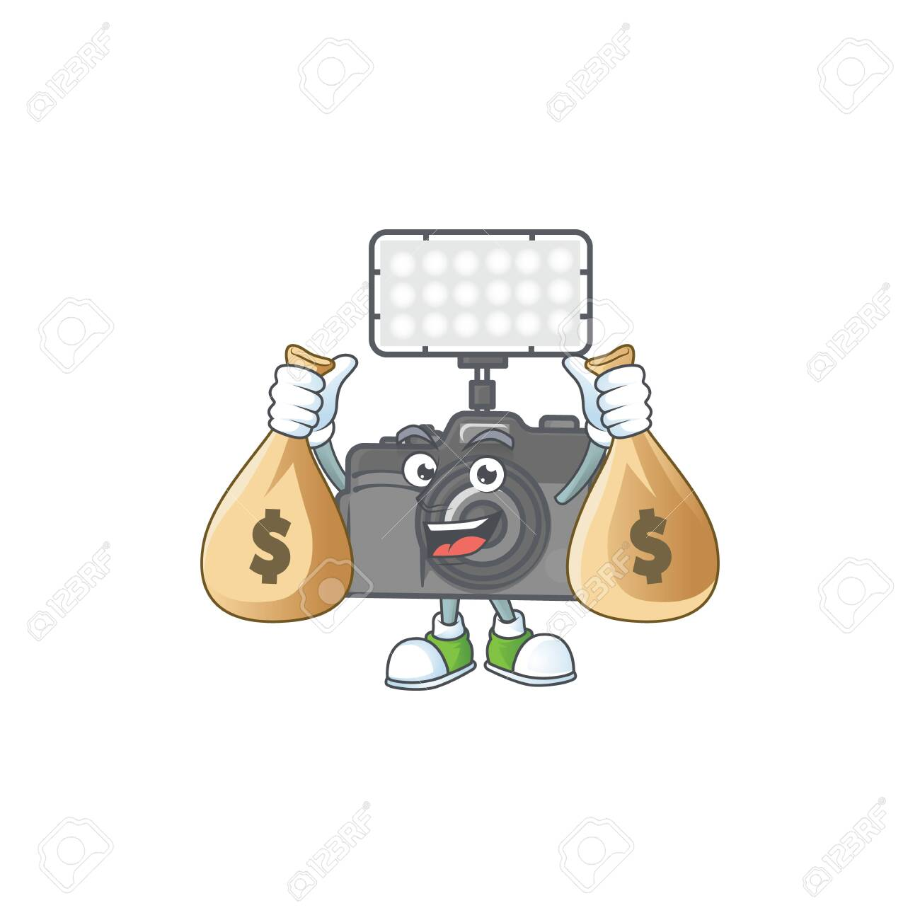 A cute image of photo camera with lighting cartoon character holding money bags. Vector illustration - 140179243