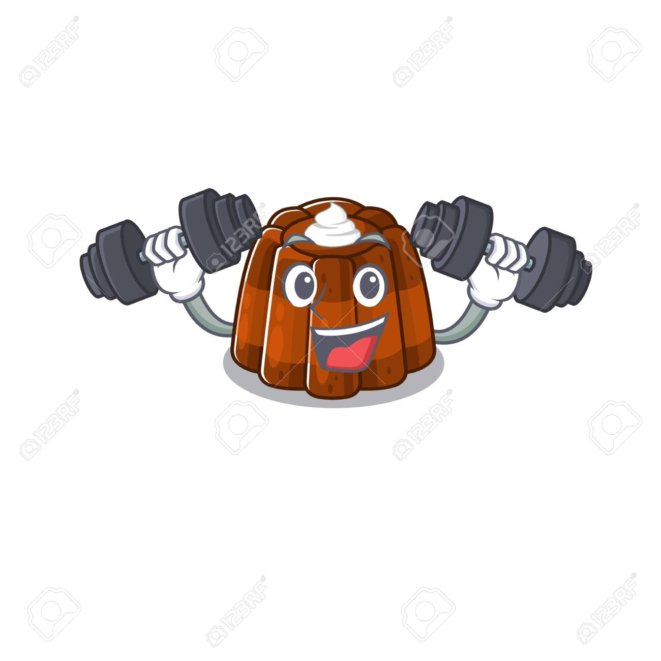 Sporty Fitness exercise chocolate pudding mascot design using barbells - 141544364