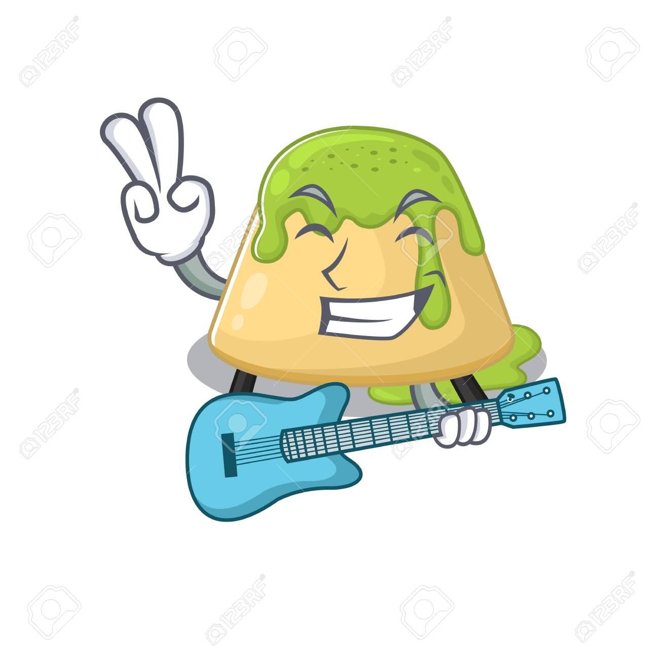 Supper cool pudding green tea cartoon playing a guitar. Vector illustration - 142055298