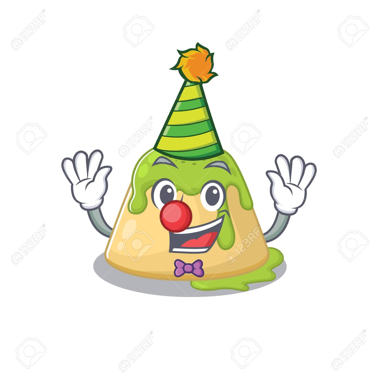 Cute and Funny Clown pudding green tea cartoon character mascot style. Vector illustration - 142055327