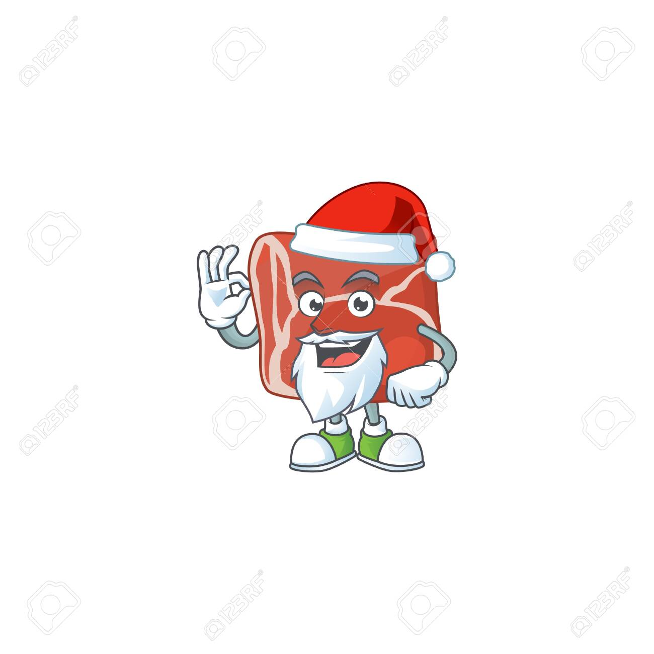 Beef cartoon character of Santa showing ok finger. Vector illustration - 142153256