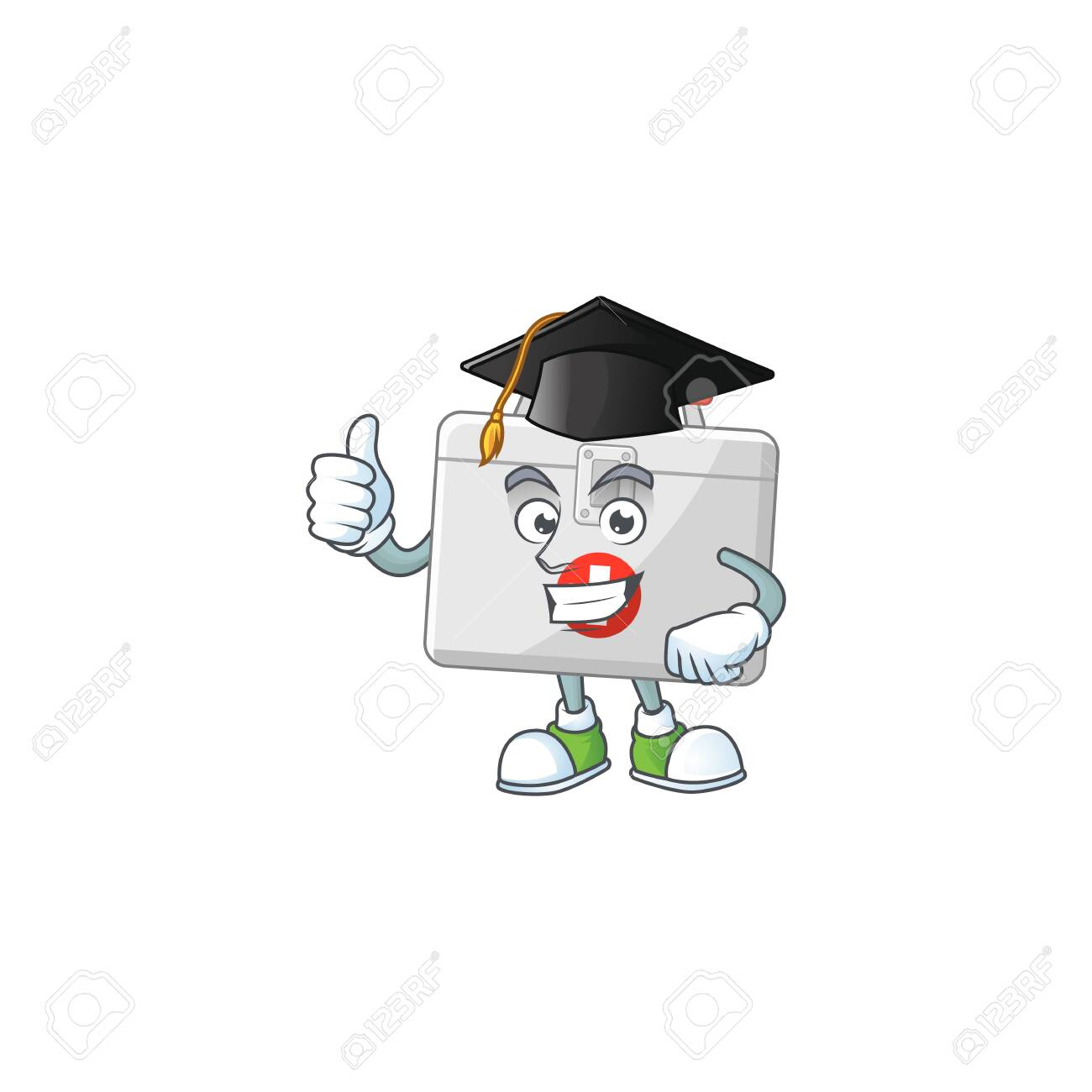 Mascot design concept of first aid kit proudly wearing a black Graduation hat. Vector illustration - 145225763