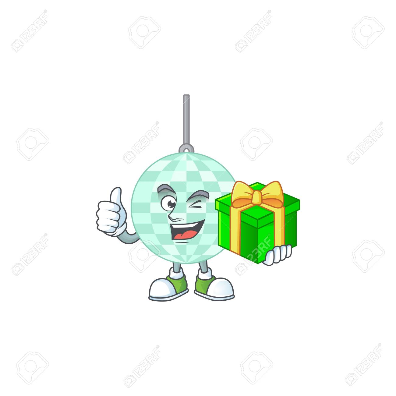 Happy smiley disco ball cartoon mascot design with a gift box - 147963506