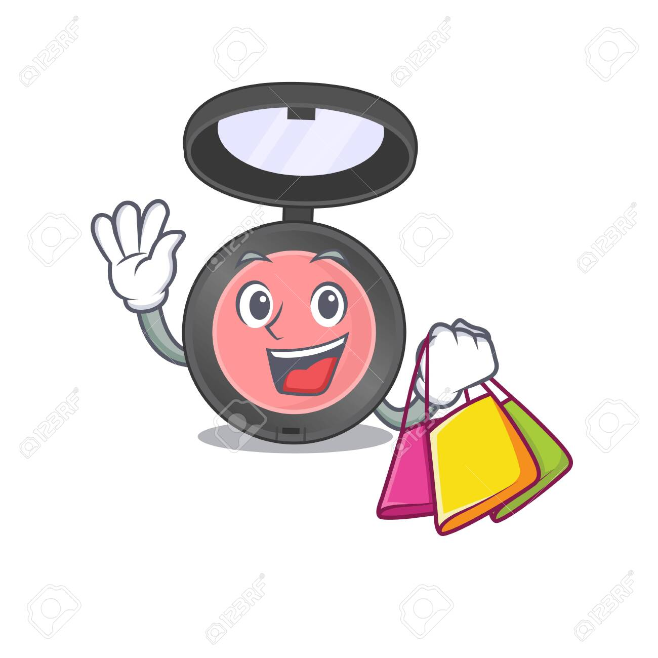 Pink blusher wealthy cartoon character concept with shopping bags. Vector illustration - 149984504