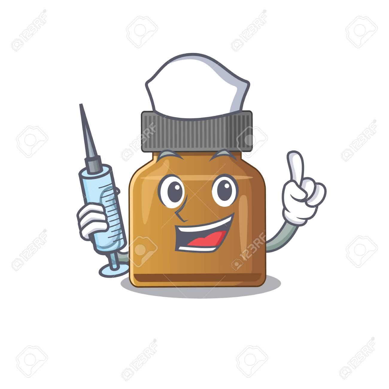 Bottle vitamin b humble nurse mascot design with a syringe. Vector illustration - 150919700