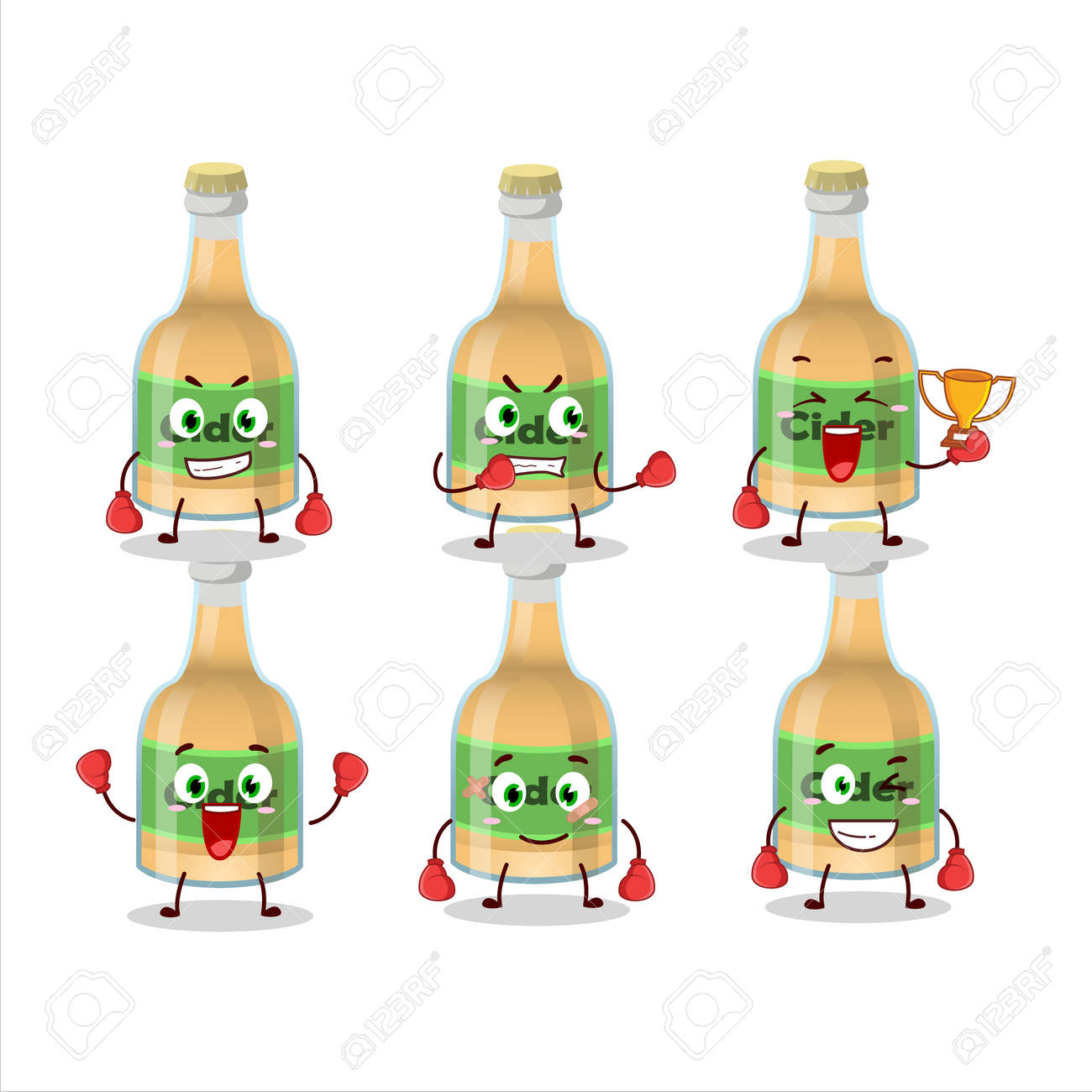 A sporty cider bottle boxing athlete cartoon mascot design - 172516074