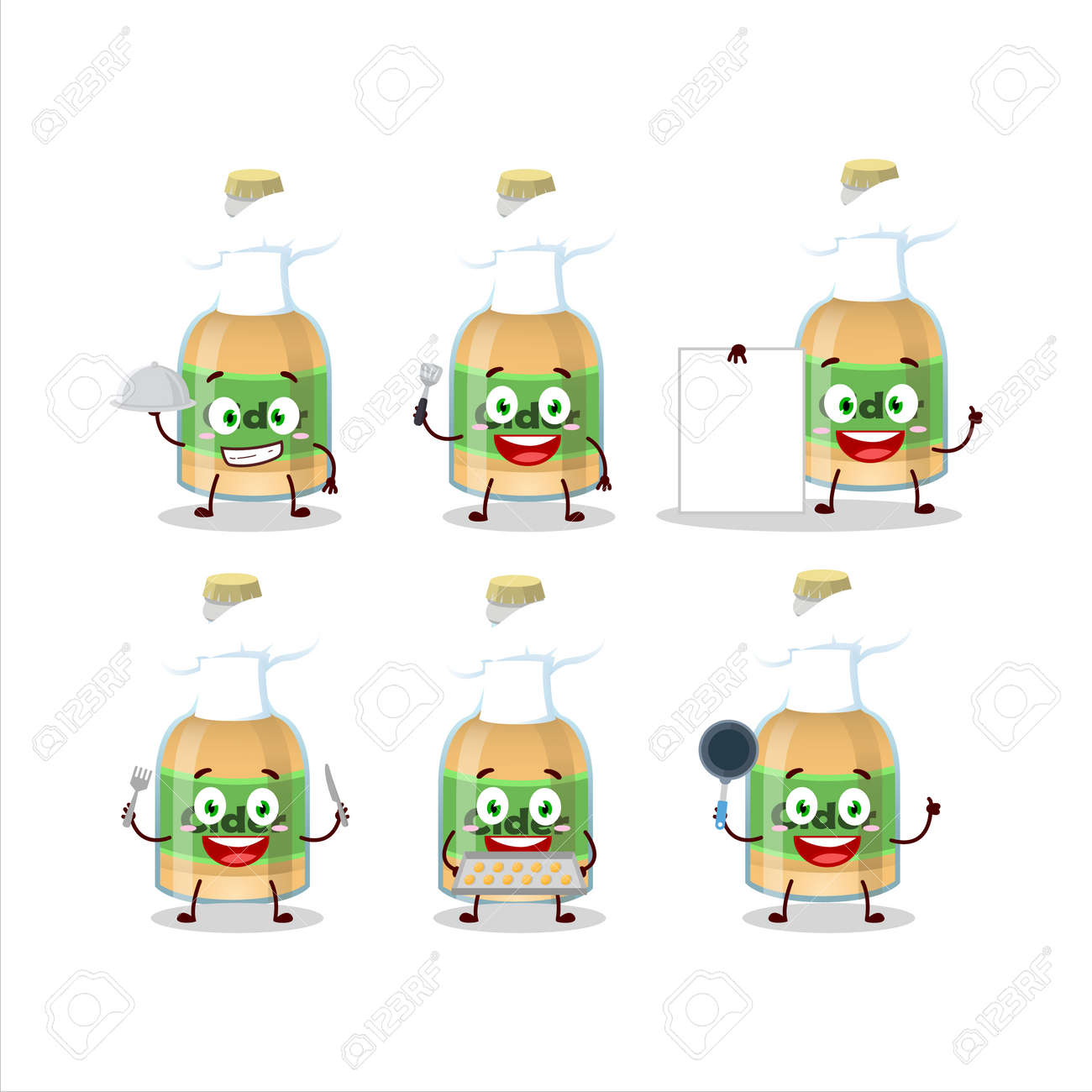 Cartoon character of cider bottle with various chef emoticons - 172516075
