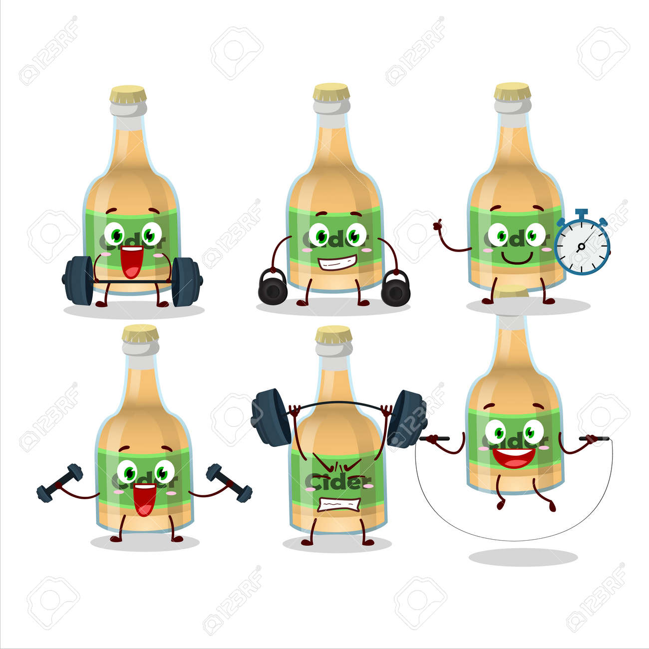 A healthy cider bottle cartoon style trying some tools on Fitness center - 172516085