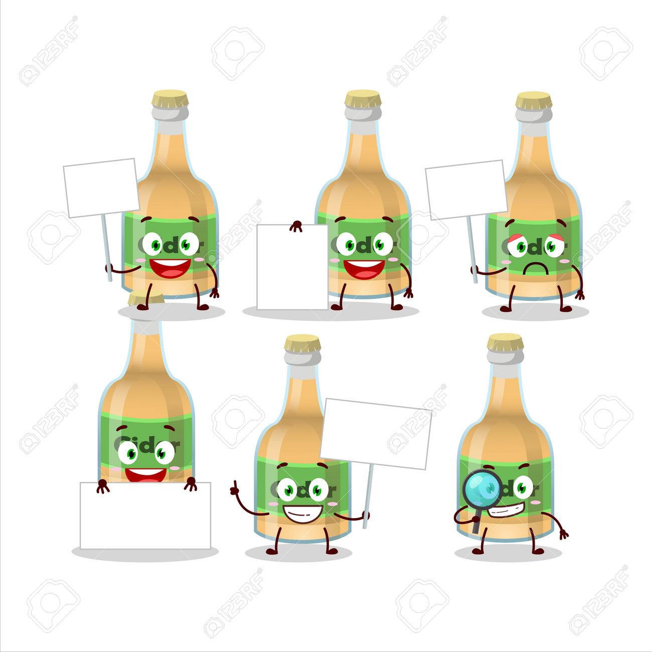 Cider bottle cartoon character bring information board. Vector illustration - 172516088