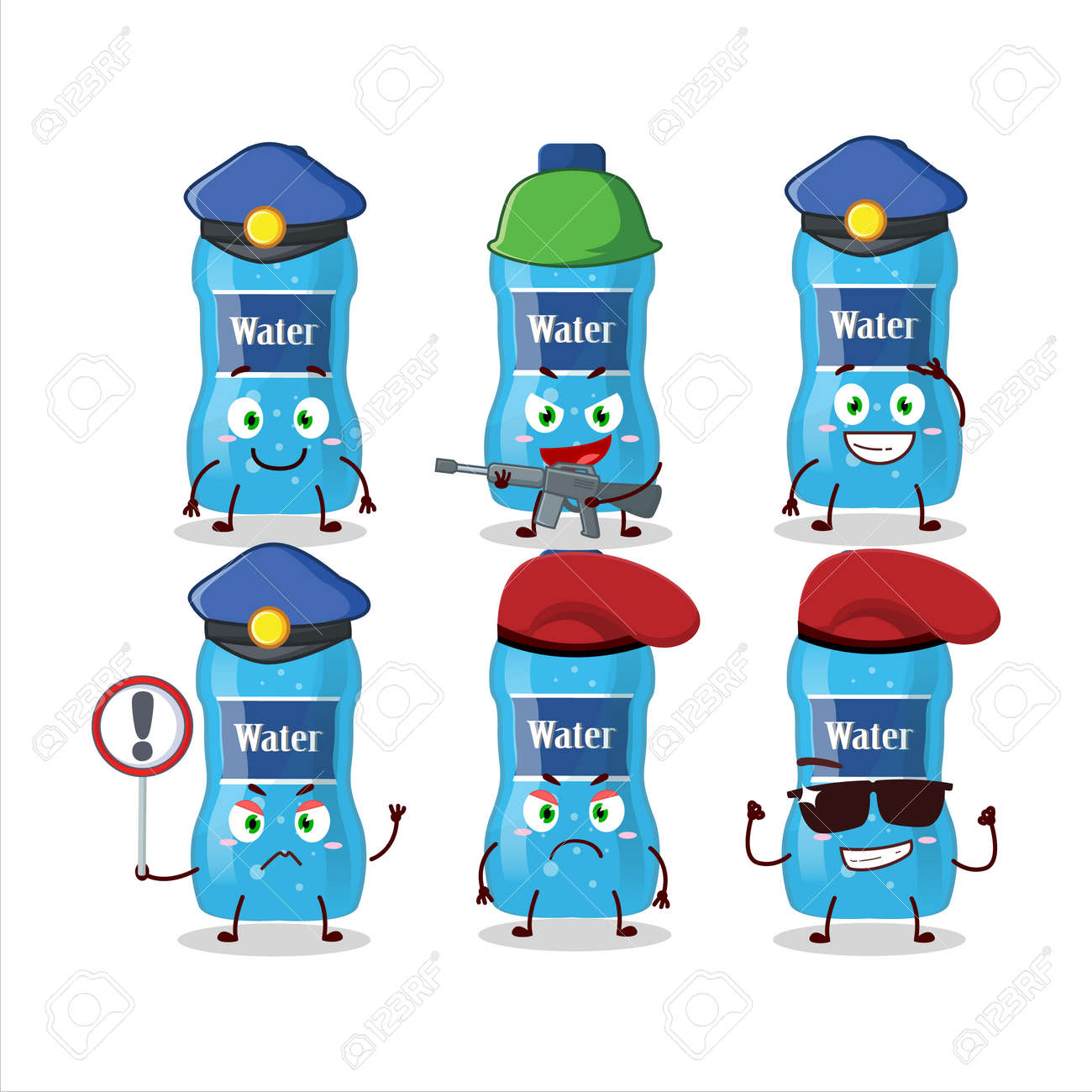 A dedicated Police officer of water bottle mascot design style - 172515411